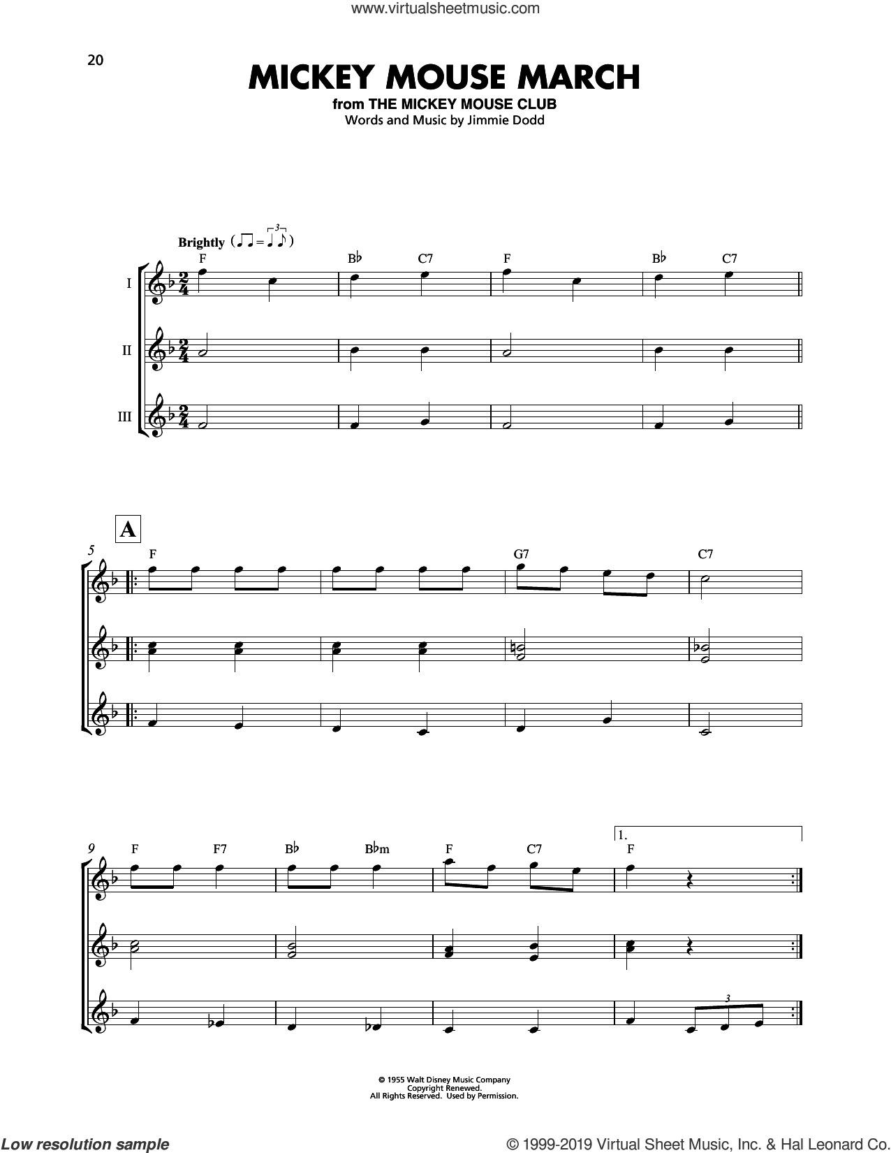 Mickey Mouse March sheet music for ukulele ensemble by Jimmie Dodd, intermediate skill level