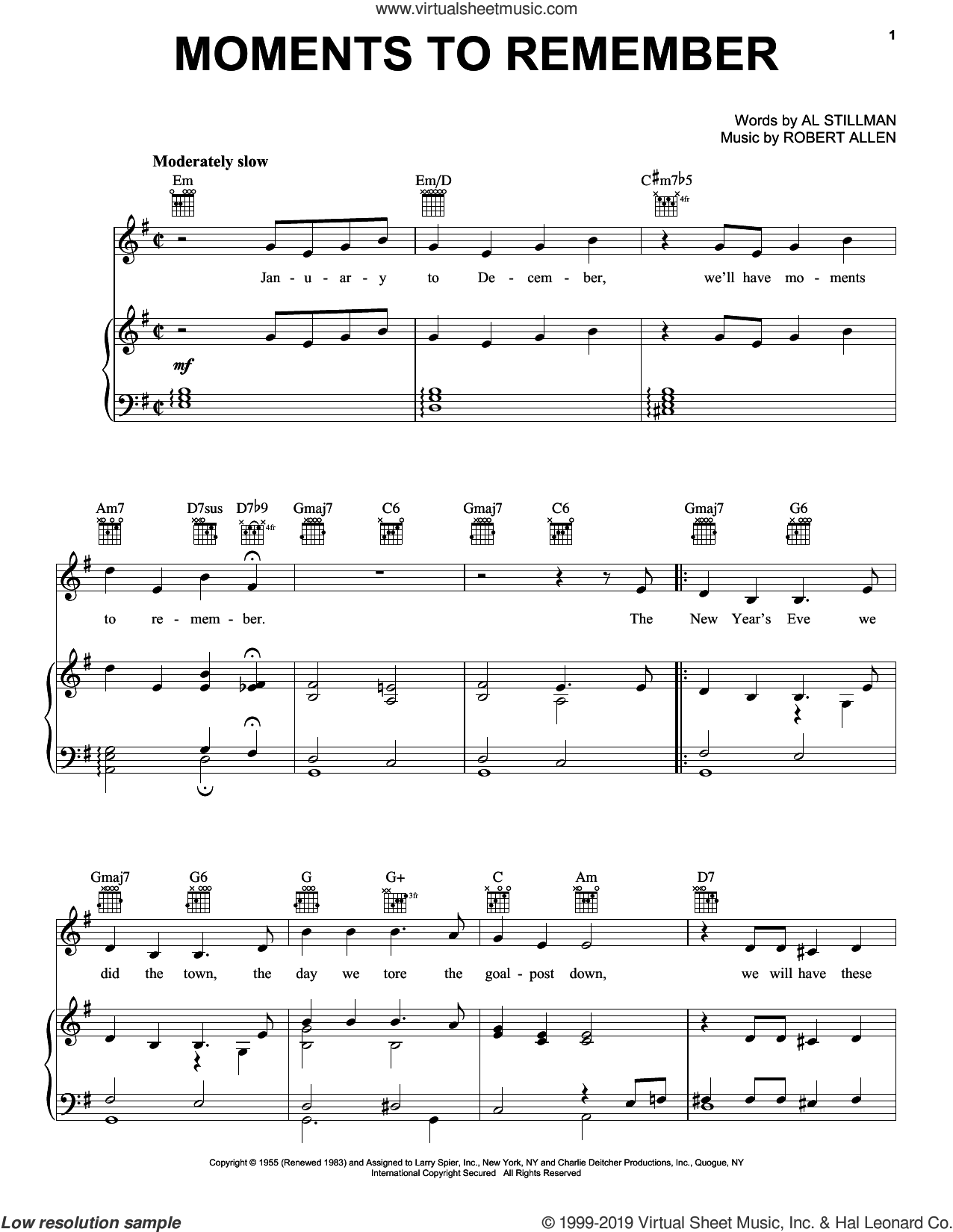 Moments To Remember sheet music for voice, piano or guitar by The Four Lads, Al Stillman and Robert Allen, intermediate skill level