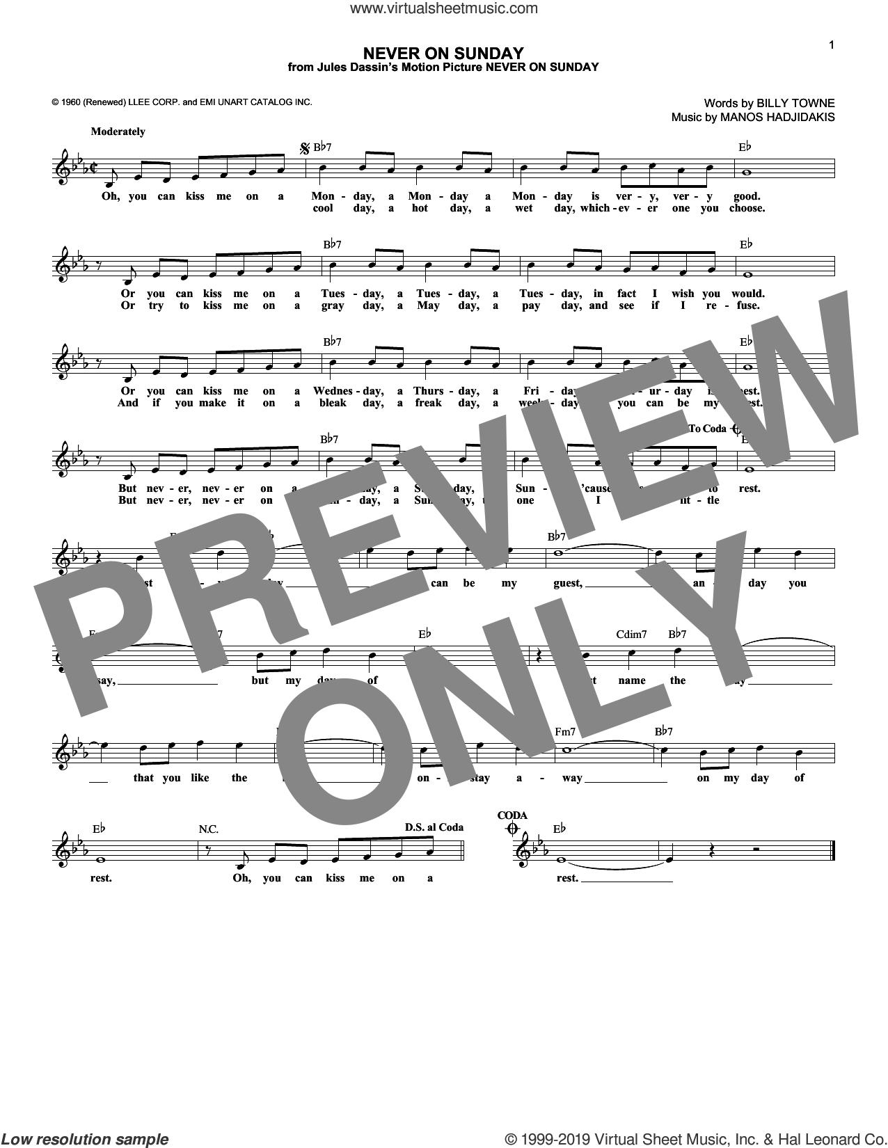 Never On Sunday sheet music for voice and other instruments (fake book) by Manos Hadjidakis and Billy Towne, intermediate skill level