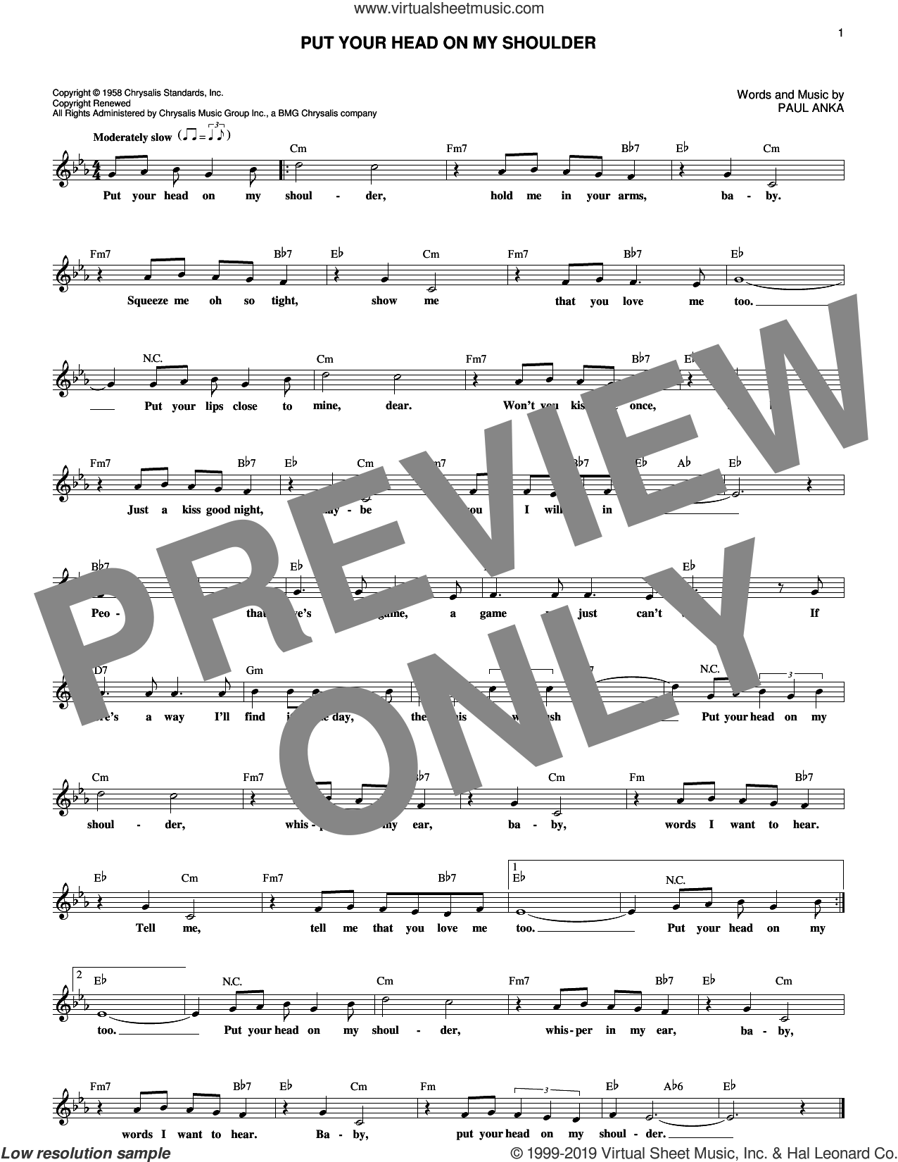 Put Your Head On My Shoulder sheet music for voice and other instruments (fake book) by Paul Anka, intermediate skill level