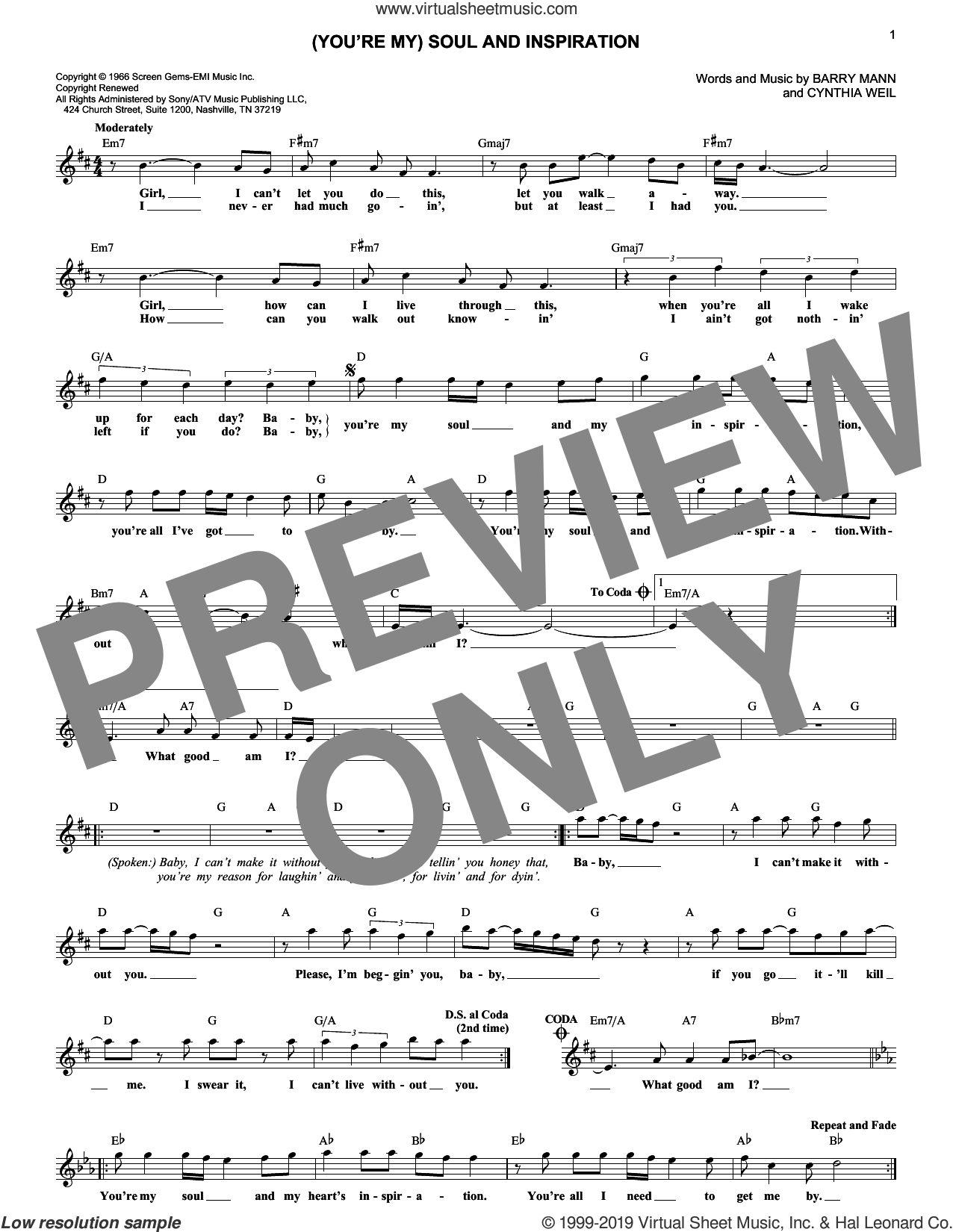 (You're My) Soul And Inspiration sheet music for voice and other instruments (fake book) by Righteous Brothers, Barry Mann and Cynthia Weil, intermediate skill level