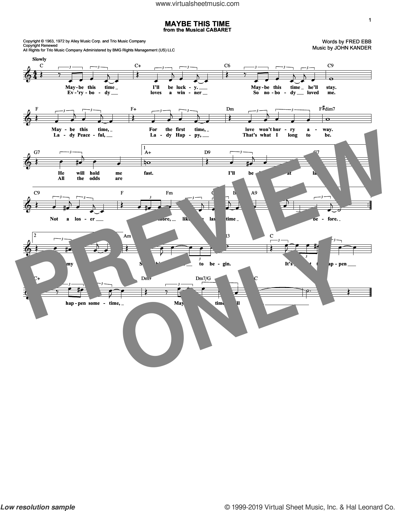Maybe This Time (from Cabaret) sheet music for voice and other instruments (fake book) by Kander & Ebb, Fred Ebb and John Kander, intermediate skill level