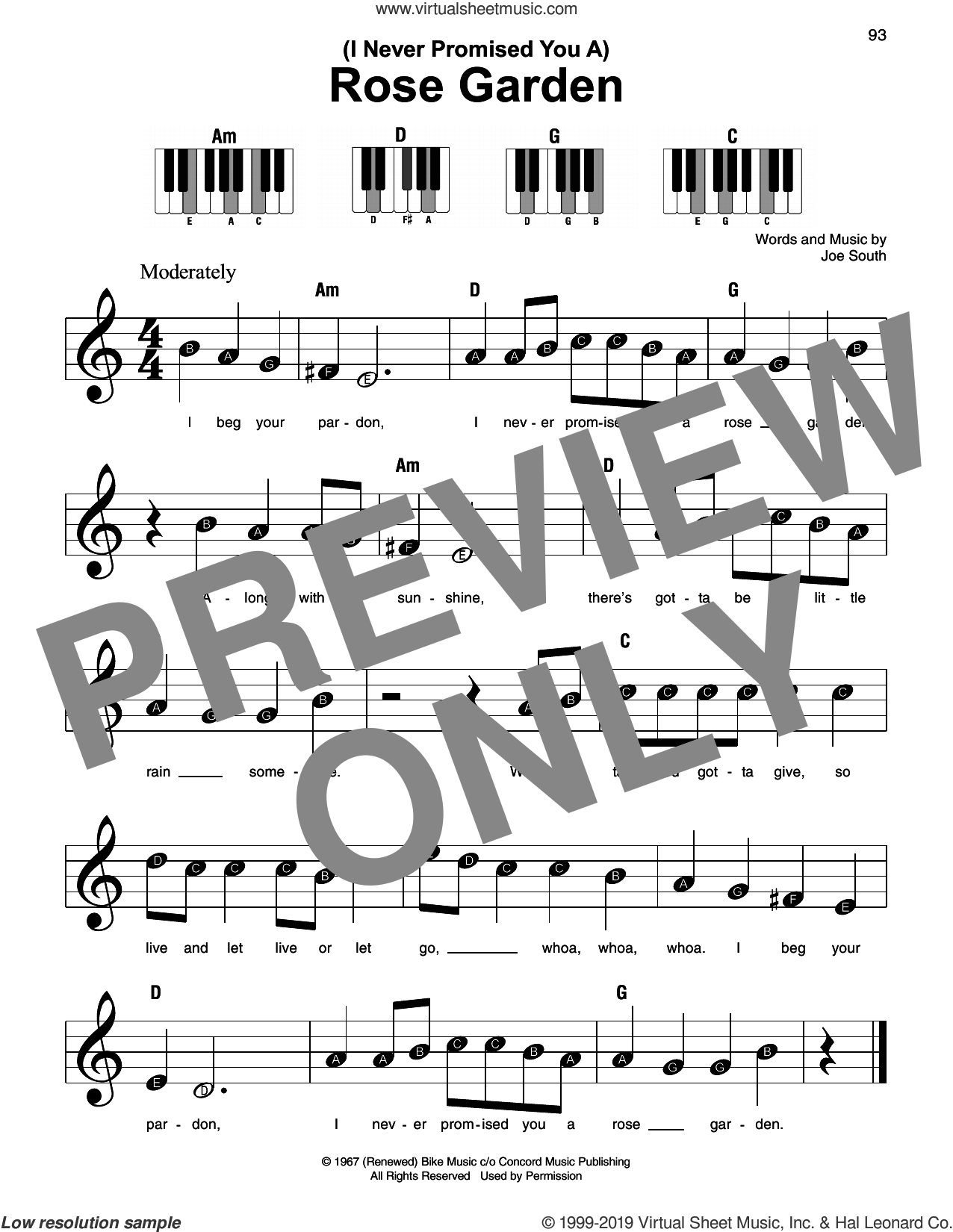(I Never Promised You A) Rose Garden sheet music for piano solo by Martina McBride and Joe South, beginner skill level