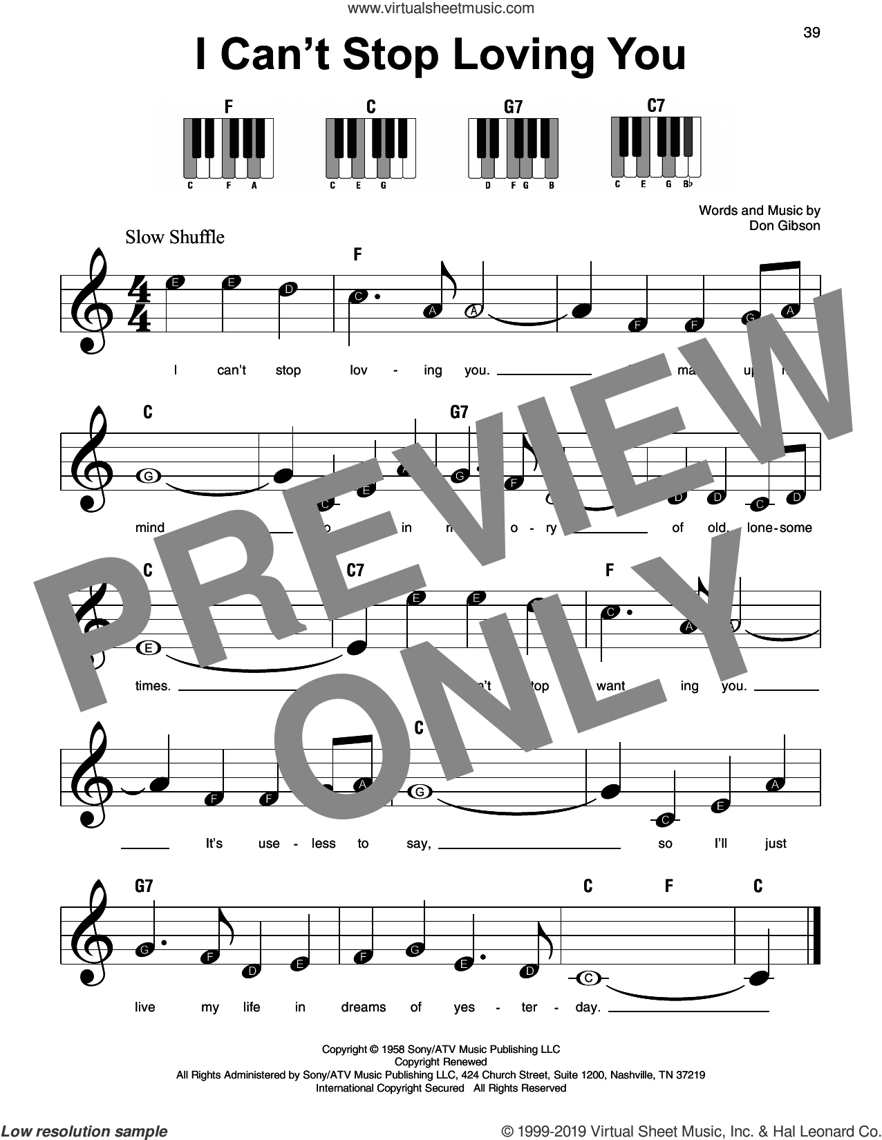 I Can't Stop Loving You sheet music for piano solo by Ray Charles, beginner skill level