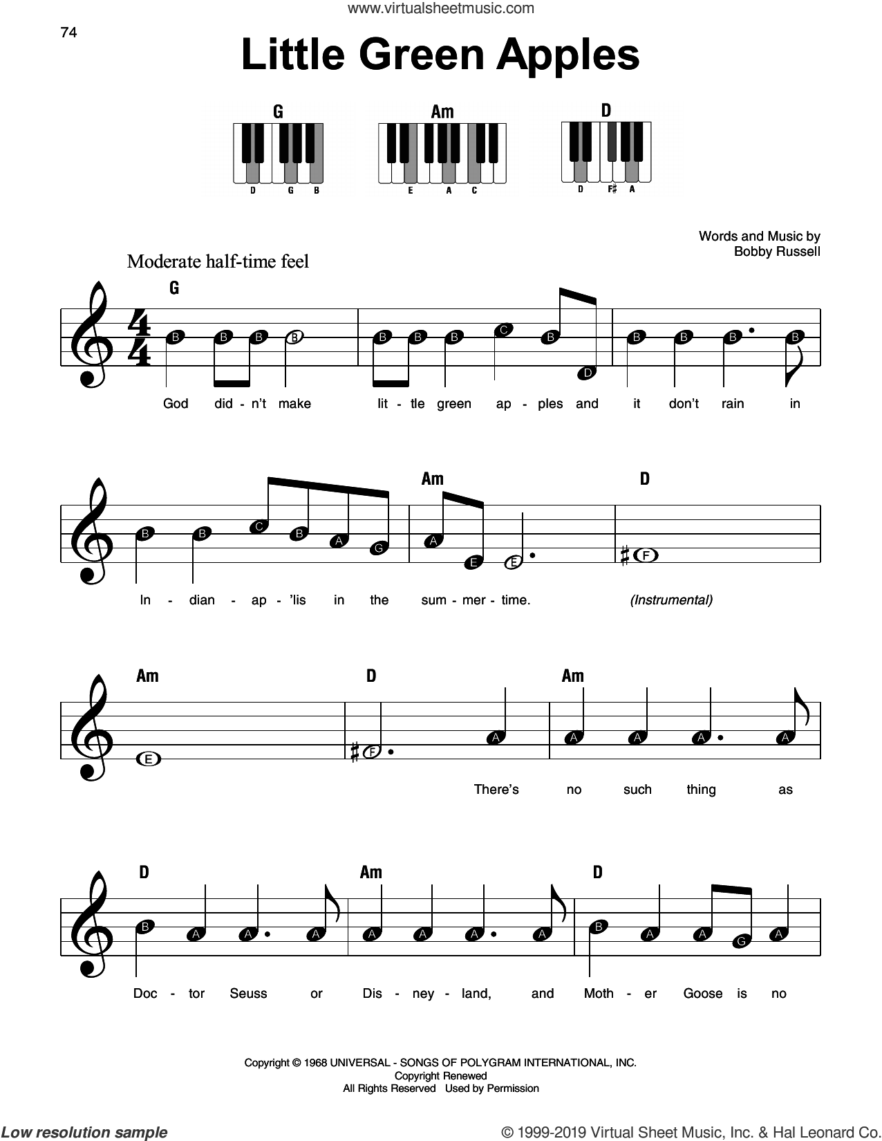 Little Green Apples sheet music for piano solo by Roger Miller and Bobby Russell, beginner skill level