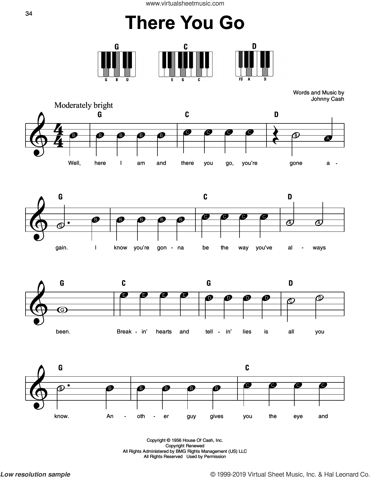 There You Go sheet music for piano solo by Johnny Cash, beginner skill level