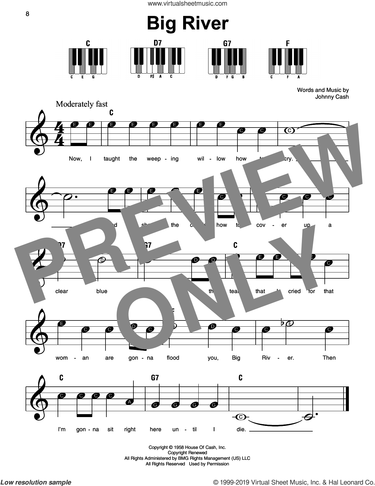 Big River sheet music for piano solo by Johnny Cash, beginner skill level