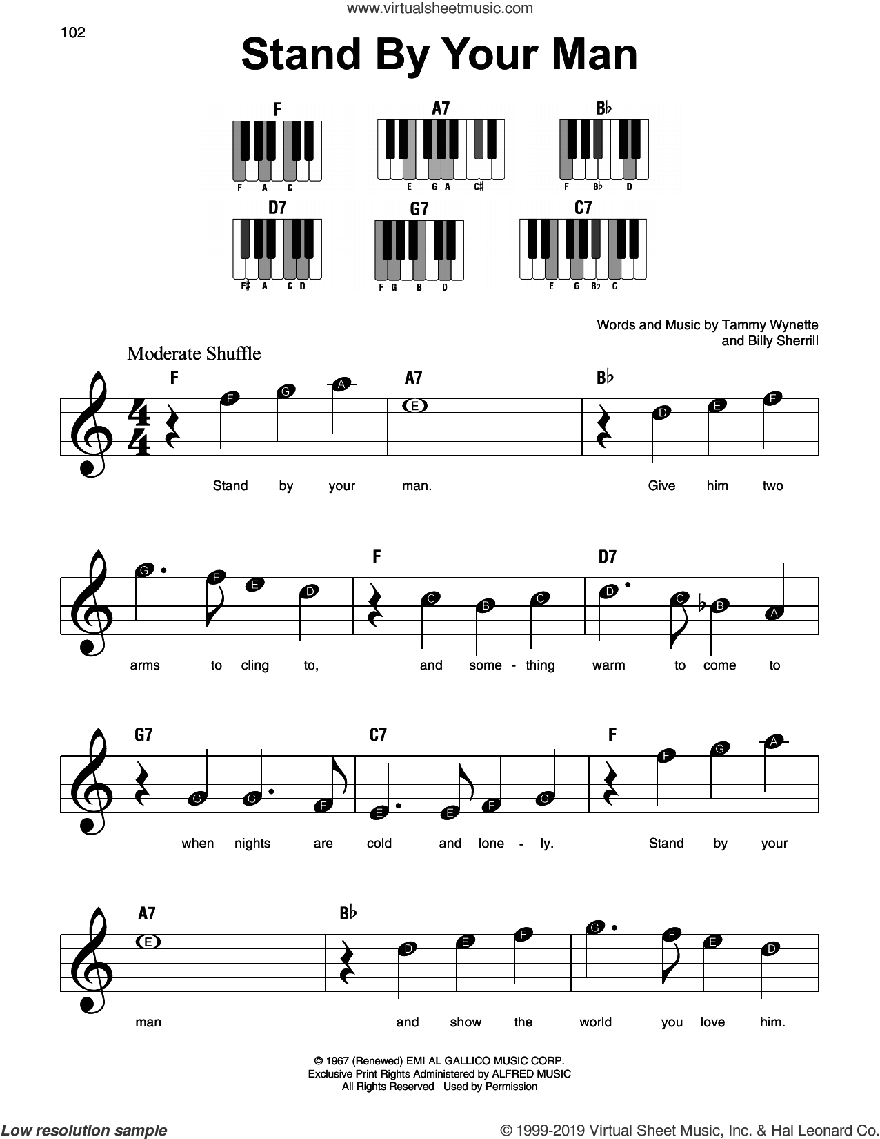 Stand By Your Man sheet music for piano solo by Tammy Wynette and Billy Sherrill, beginner skill level
