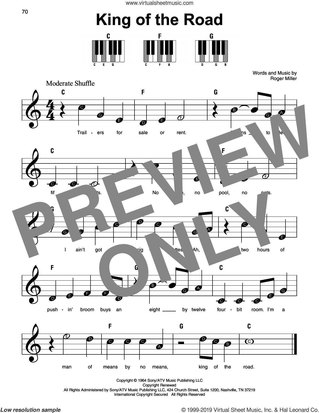 King Of The Road sheet music for piano solo by Roger Miller, beginner skill level