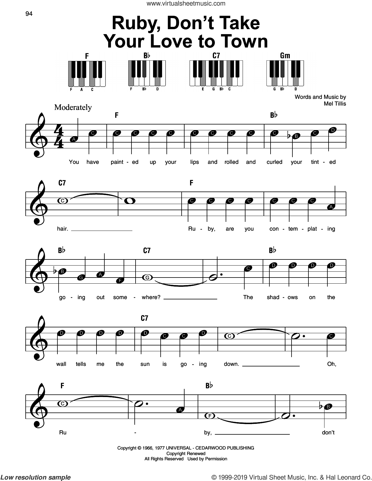 Ruby, Don't Take Your Love To Town sheet music for piano solo by Kenny Rogers and Mel Tillis, beginner skill level