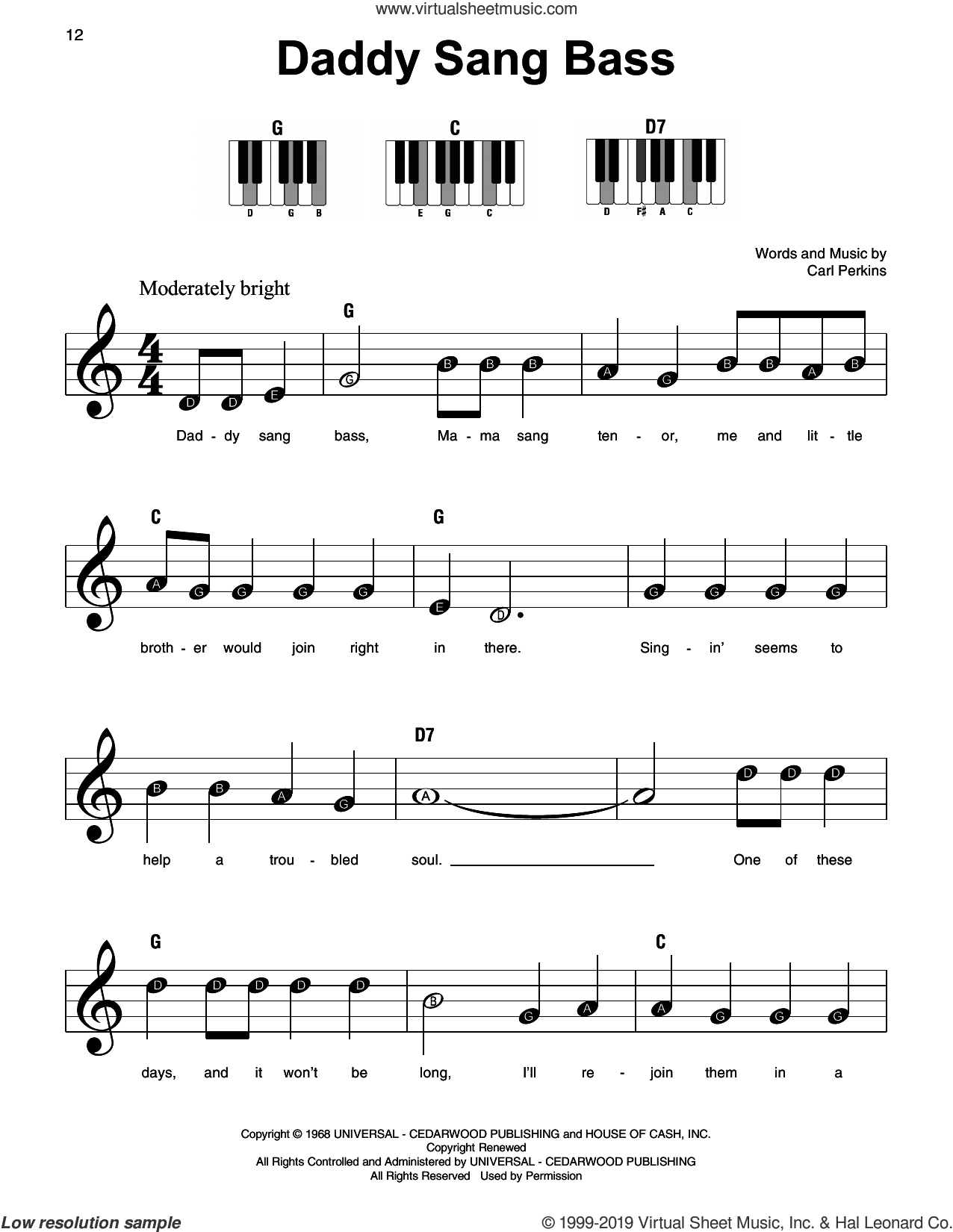 Daddy Sang Bass, (beginner) sheet music for piano solo by Johnny Cash and Carl Perkins, beginner skill level