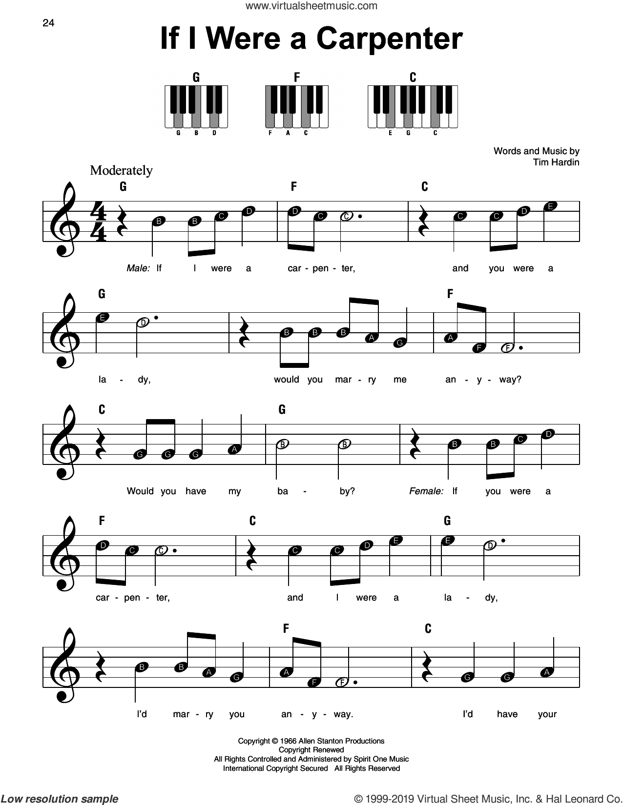 If I Were A Carpenter sheet music for piano solo by Johnny Cash & June Carter, Johnny Cash and Tim Hardin, beginner skill level