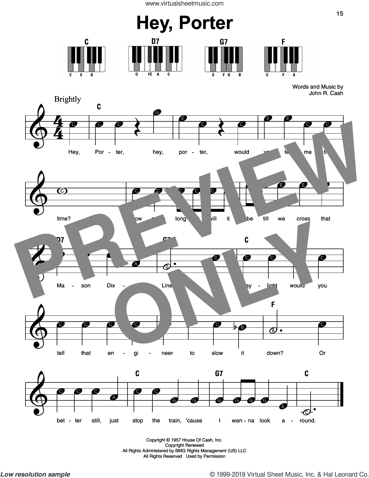 Hey, Porter sheet music for piano solo by Johnny Cash, beginner skill level
