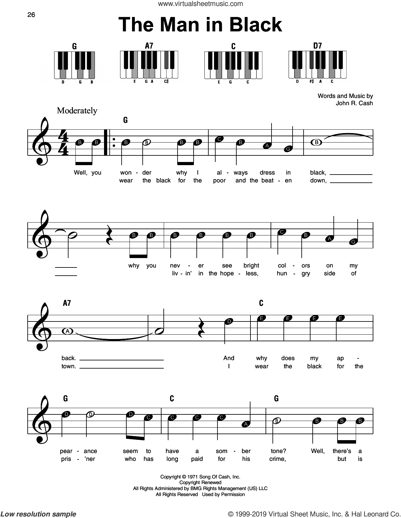 The Man In Black sheet music for piano solo by Johnny Cash, beginner skill level