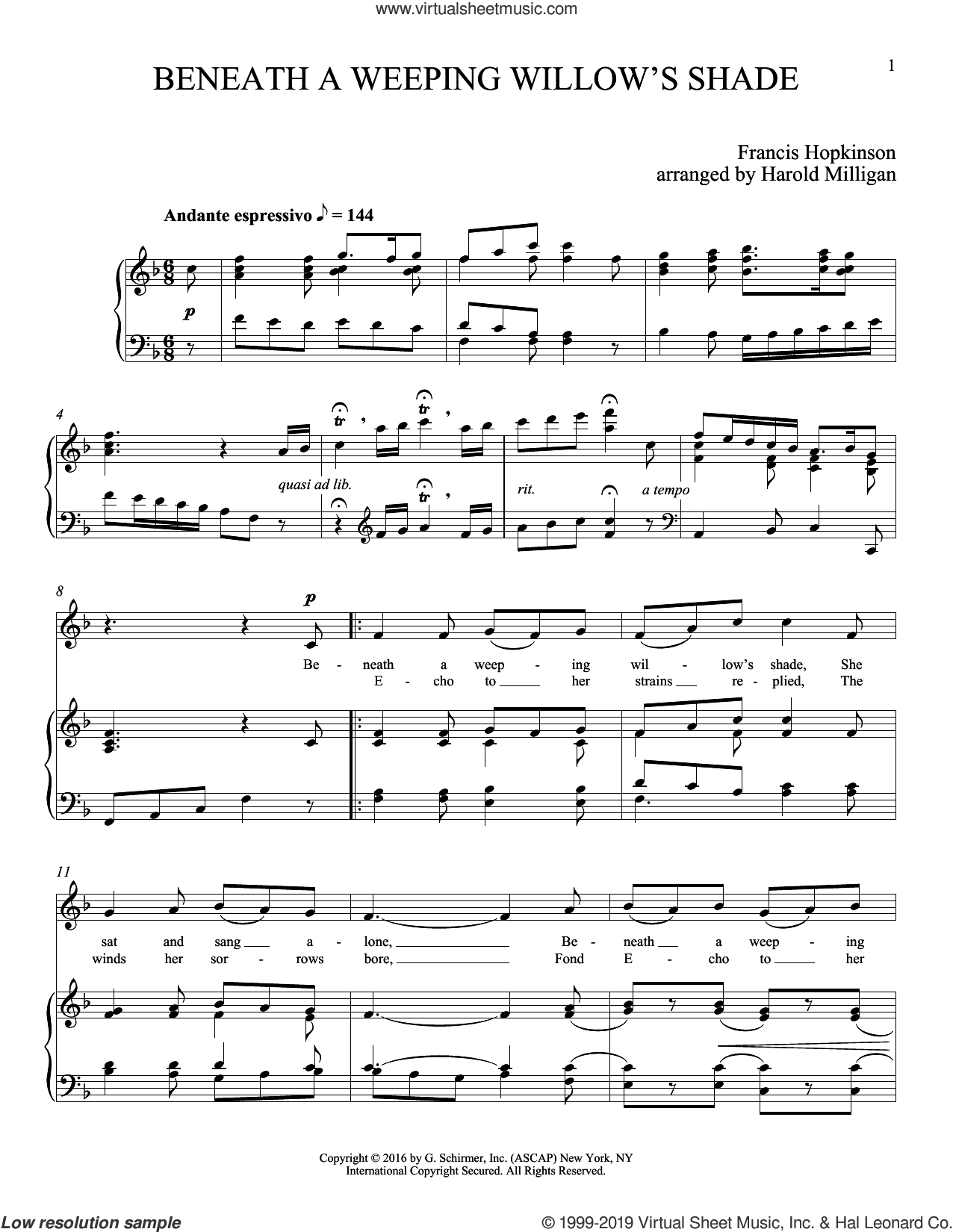 Beneath A Weeping Willow's Shade sheet music for voice and piano (Soprano) by Francis Hopkinson and Joan Frey Boytim, classical score, intermediate skill level