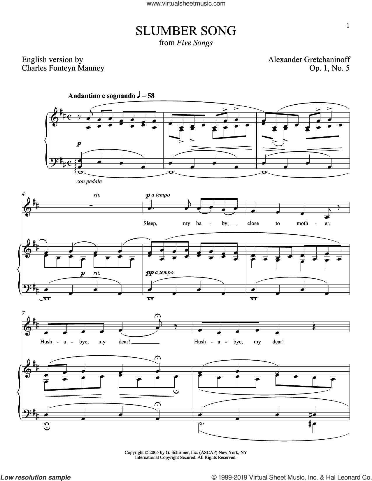 Slumber Song (Berceuse) sheet music for voice and piano (Soprano) by Alexander Gretchaninoff and Joan Frey Boytim, classical score, intermediate skill level