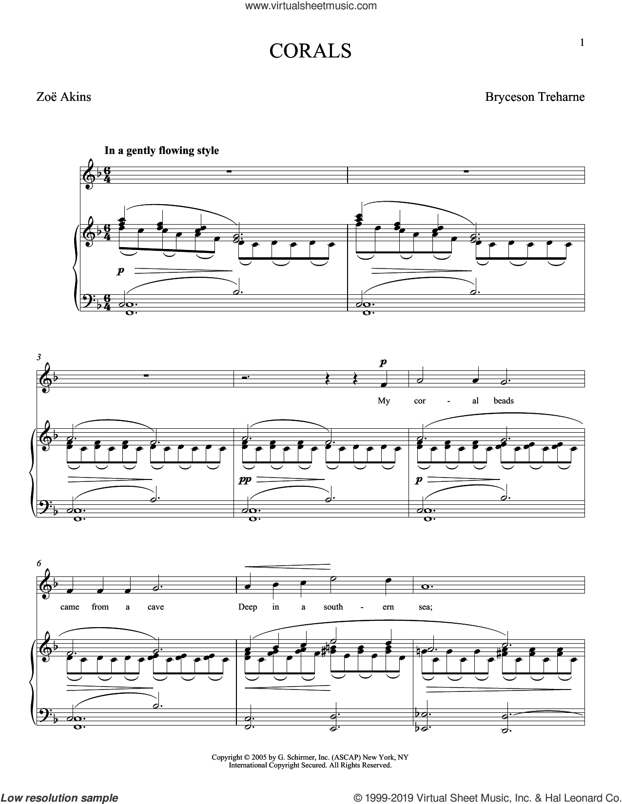 Corals sheet music for voice and piano (Soprano) by Bryceson Treharne, Joan Frey Boytim and Zoe Akins, classical score, intermediate skill level