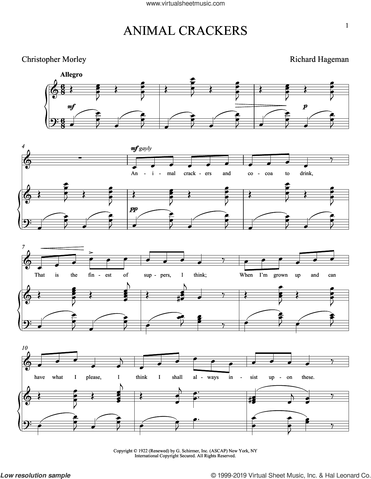Animal Crackers sheet music for voice and piano by Christopher Morley, Joan Frey Boytim and Richard Hageman, classical score, intermediate skill level