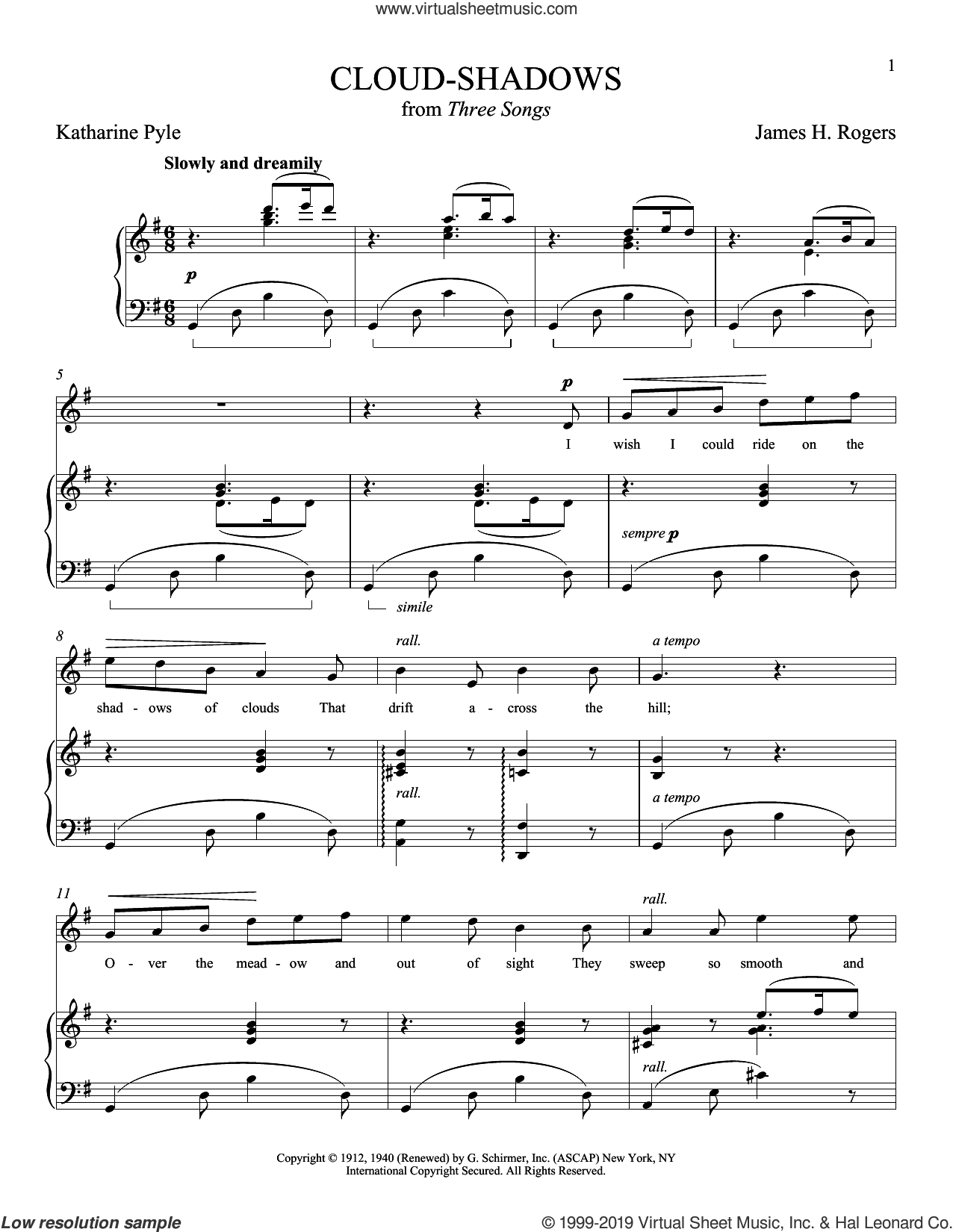 Cloud-Shadows sheet music for voice and piano (Soprano) by Katharine Pyle, Joan Frey Boytim and James H. Rogers, classical score, intermediate skill level