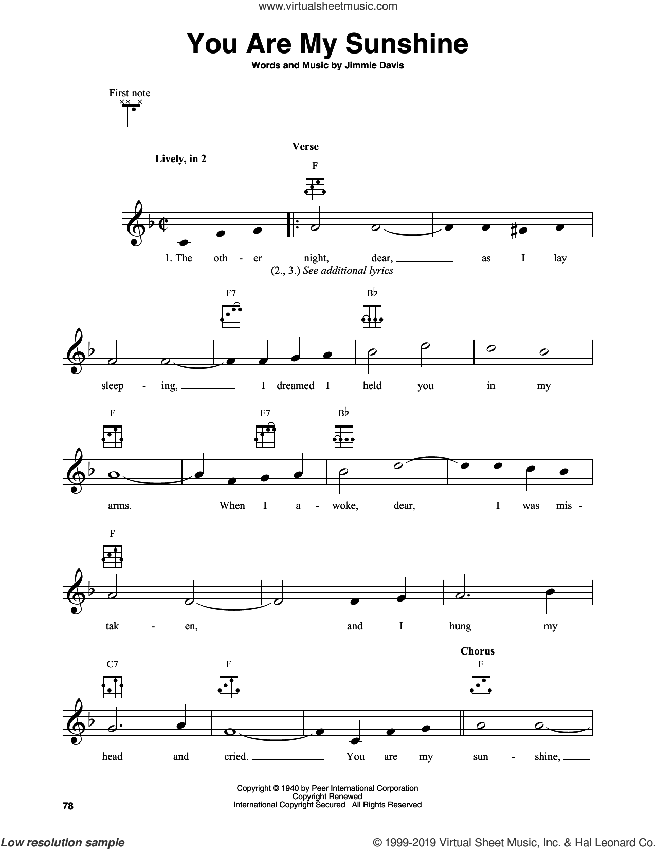 You Are My Sunshine sheet music for banjo solo by Jimmie Davis, intermediate skill level