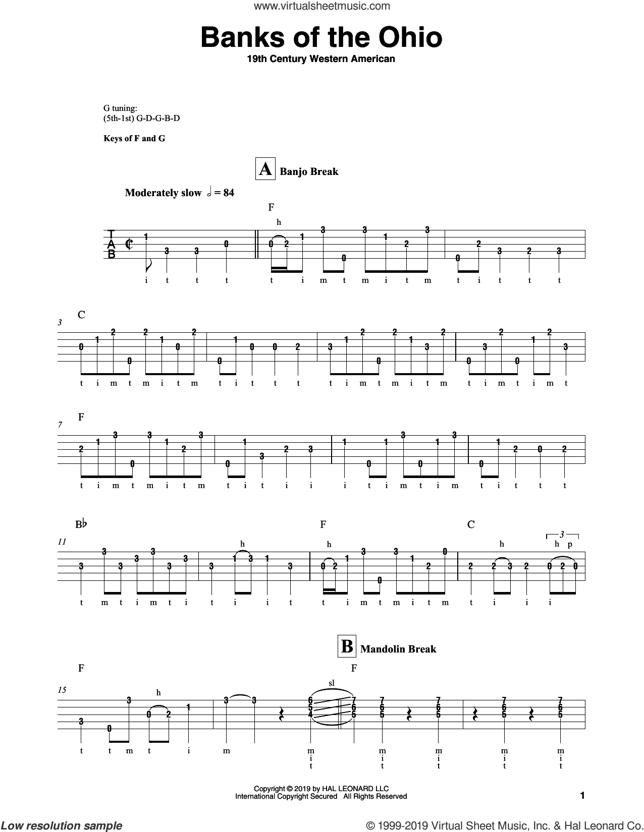 Banks Of The Ohio sheet music for banjo solo by Johnny Cash and 19th Century Western American, intermediate skill level
