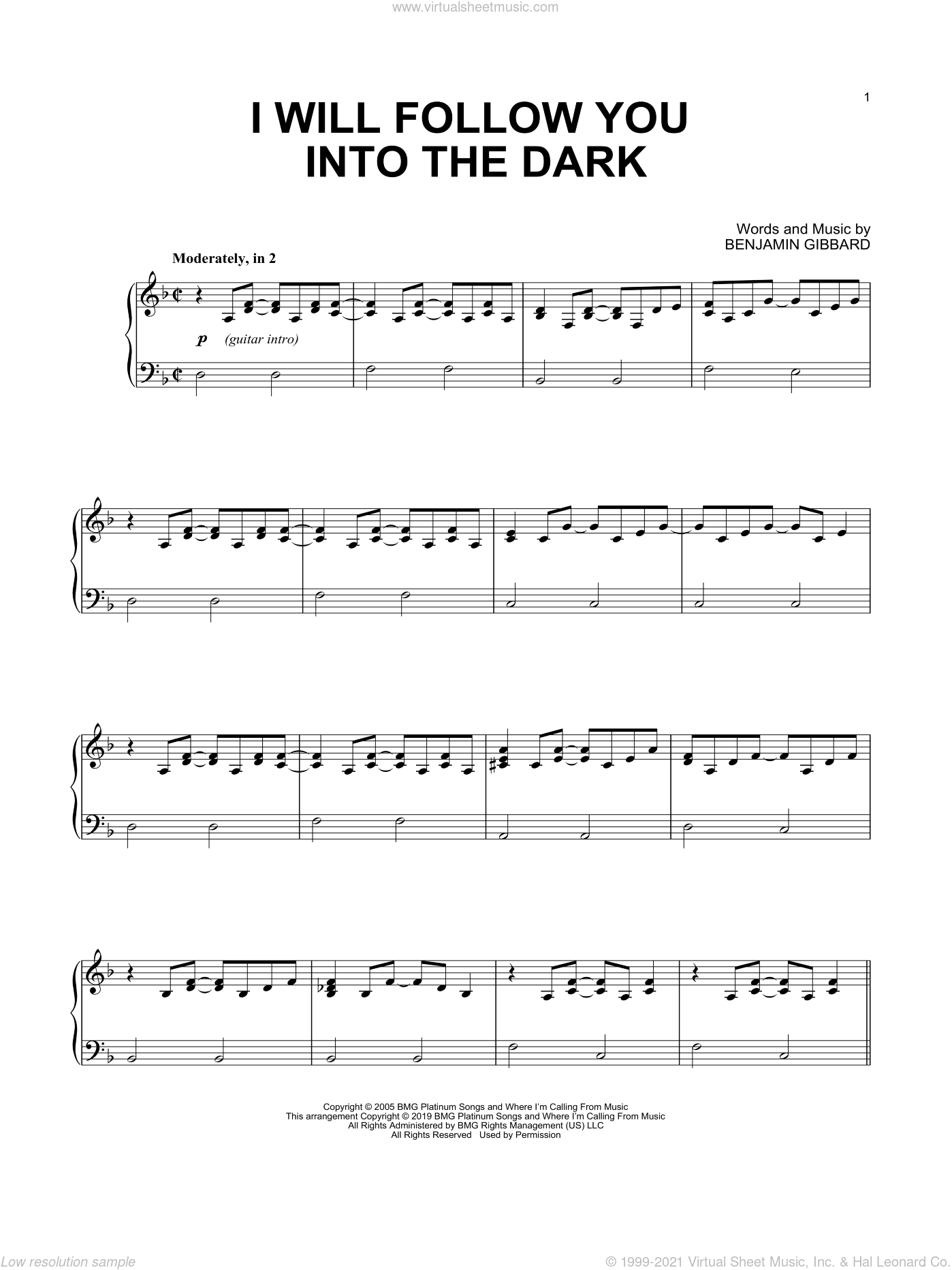 Cutie   I Will Follow You Into The Dark sheet music for piano solo