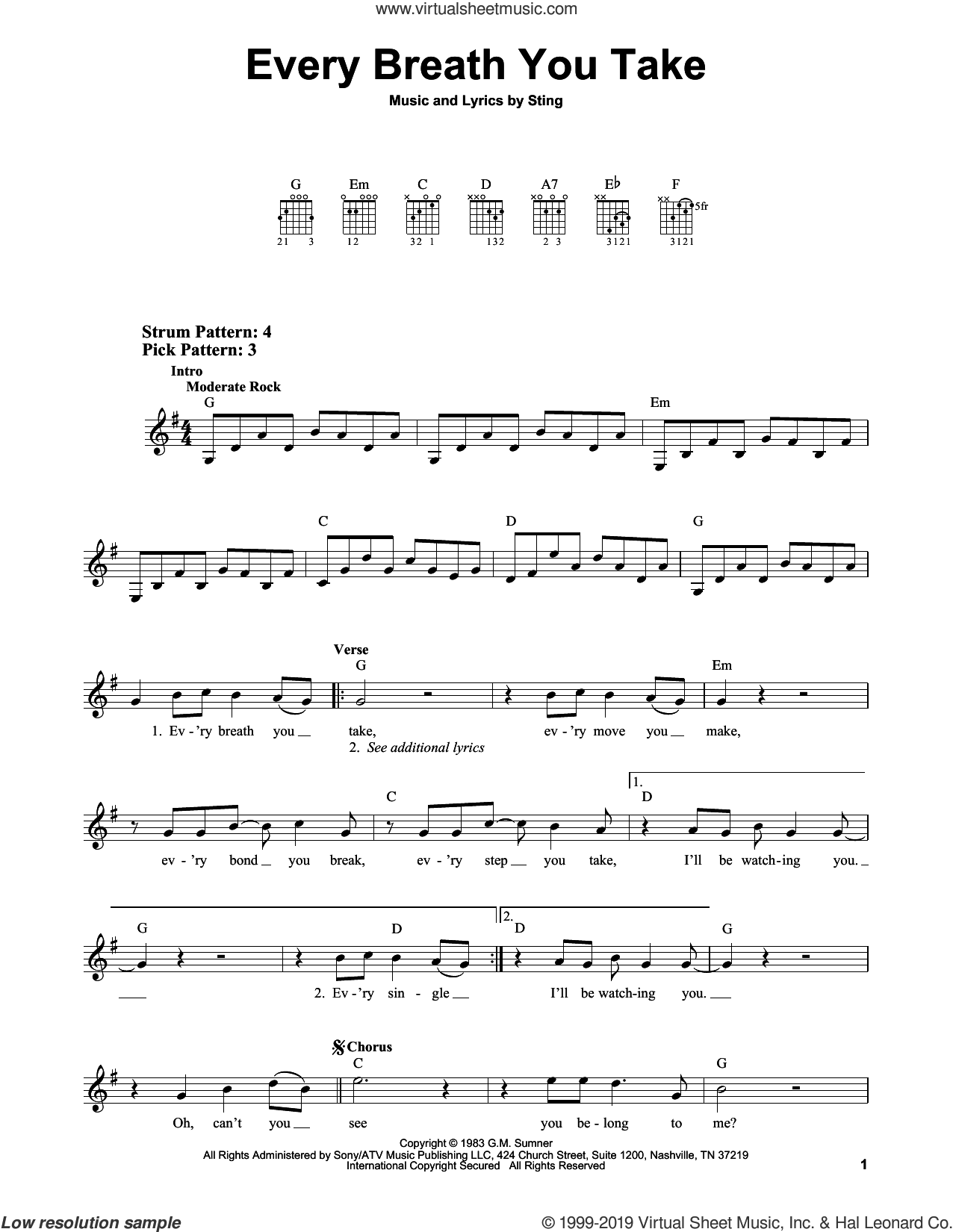 Every Breath You Take sheet music for guitar solo (chords) by The Police and Sting, easy guitar (chords)