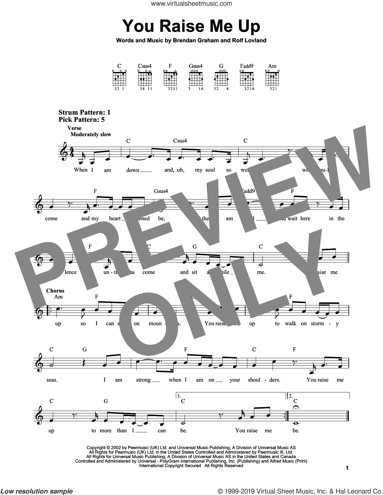 You Raise Me Up sheet music for guitar solo (chords) by Josh Groban, Brendan Graham and Rolf Lovland, easy guitar (chords)