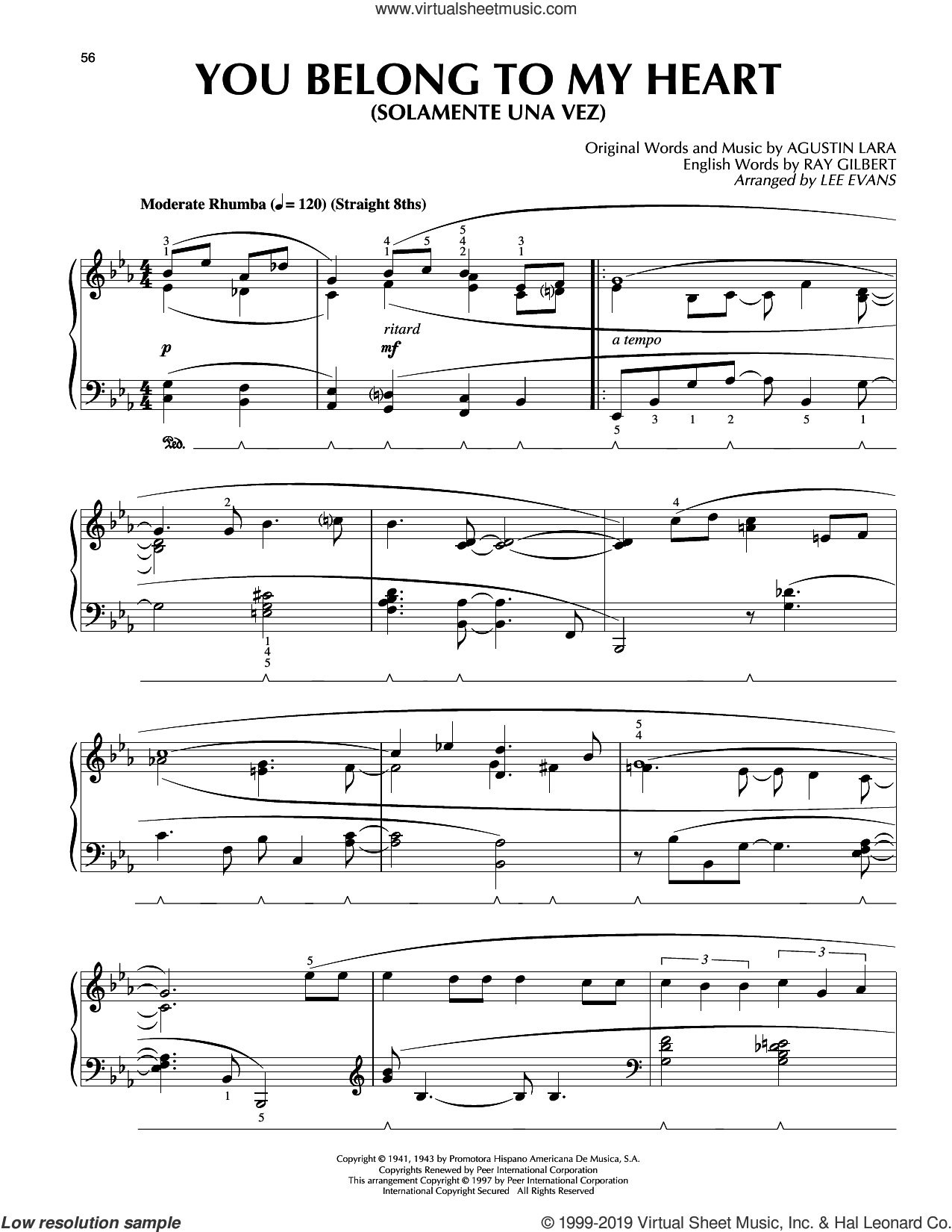 You Belong To My Heart (Solamente Una Vez) (arr. Lee Evans) sheet music for piano solo by Ray Gilbert, Lee Evans and Agustin Lara, intermediate skill level