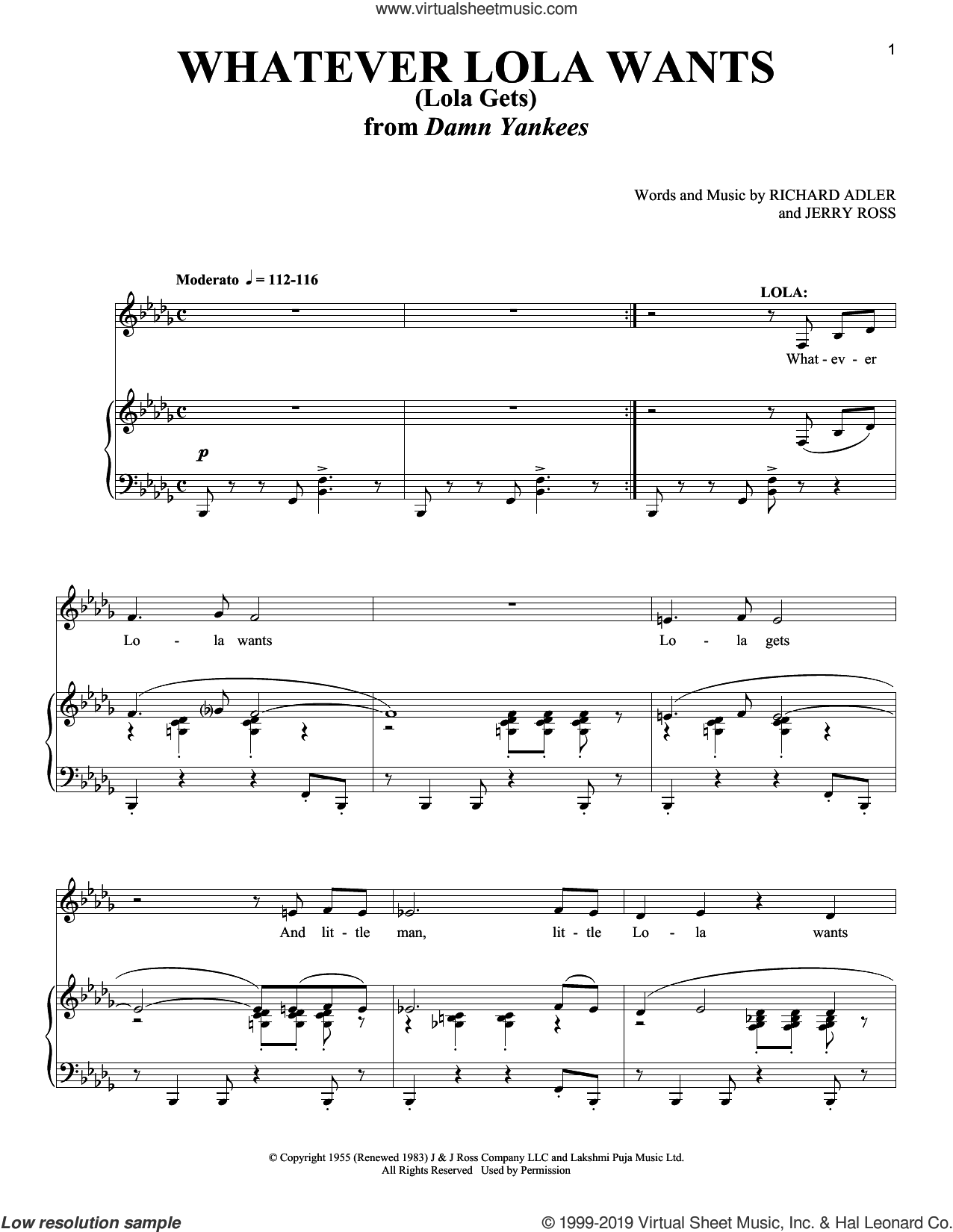Whatever Lola Wants (Lola Gets) sheet music for voice and piano by Richard Adler and Jerry Ross, intermediate skill level