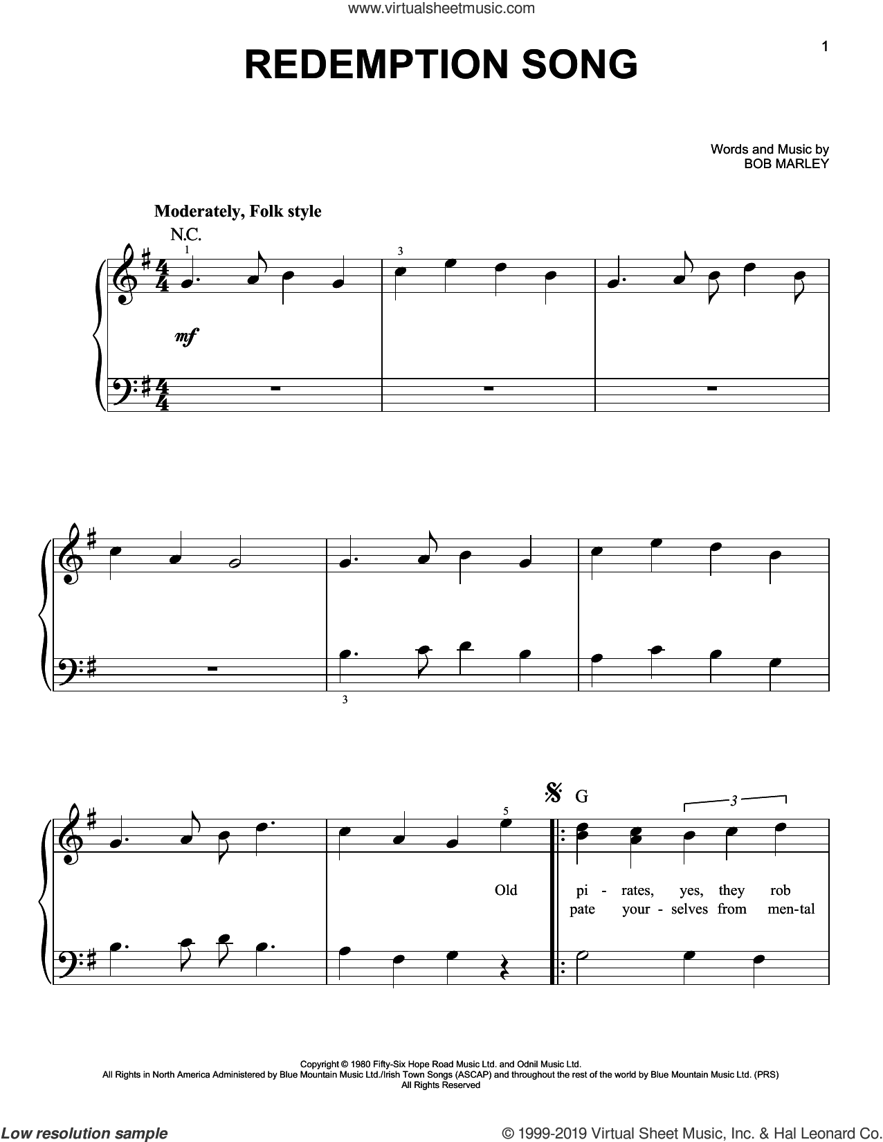 Redemption Song sheet music for piano solo by Bob Marley, beginner skill level