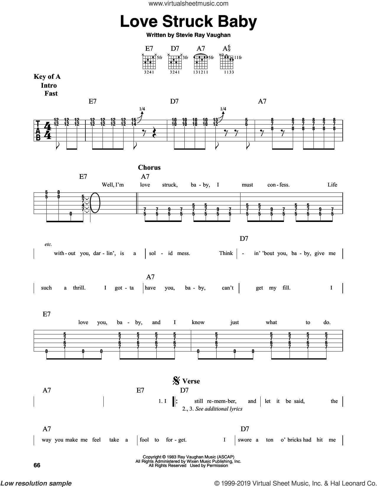 Love Struck Baby sheet music for guitar solo (lead sheet) by Stevie Ray Vaughan, intermediate guitar (lead sheet)