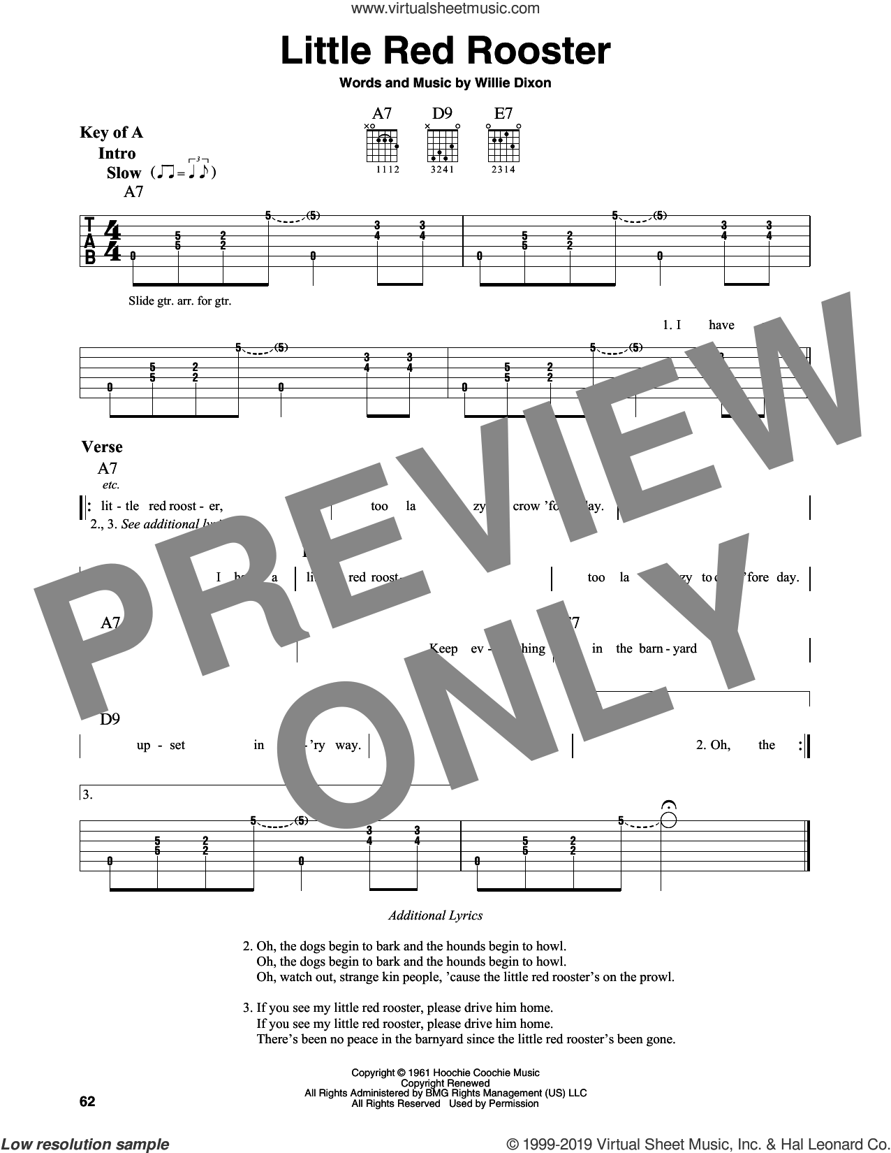 Little Red Rooster sheet music for guitar solo (lead sheet) by Howlin' Wolf, Sam Cooke, The Rolling Stones and Willie Dixon, intermediate guitar (lead sheet)