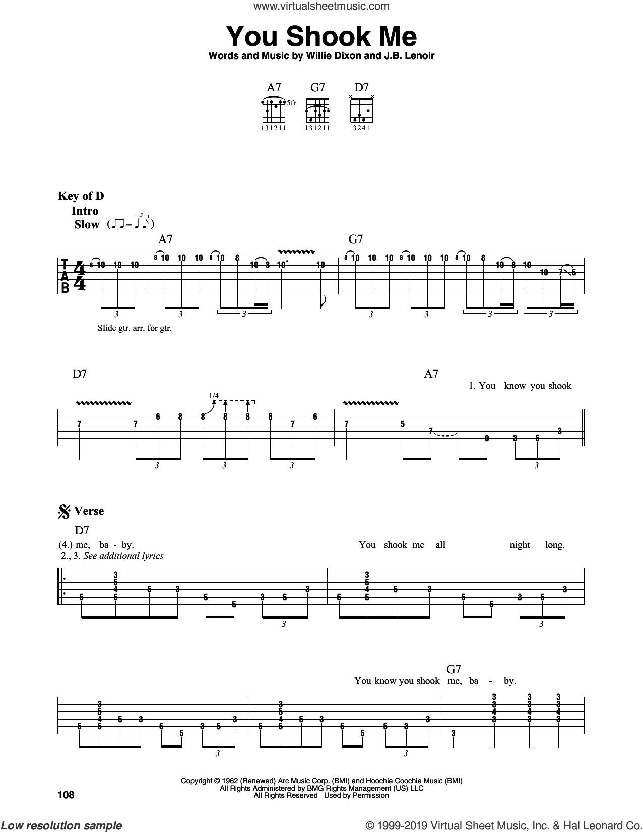 You Shook Me sheet music for guitar solo (lead sheet) by Led Zeppelin, J.B. Lenoir and Willie Dixon, intermediate guitar (lead sheet)