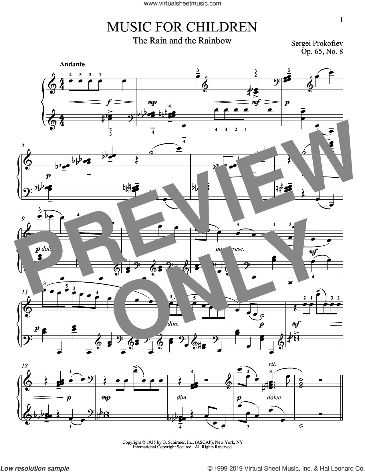 The Rain And The Rainbow, Op. 65, No. 8 sheet music for piano solo by Sergei Prokofiev and Matthew Edwards, classical score, intermediate skill level