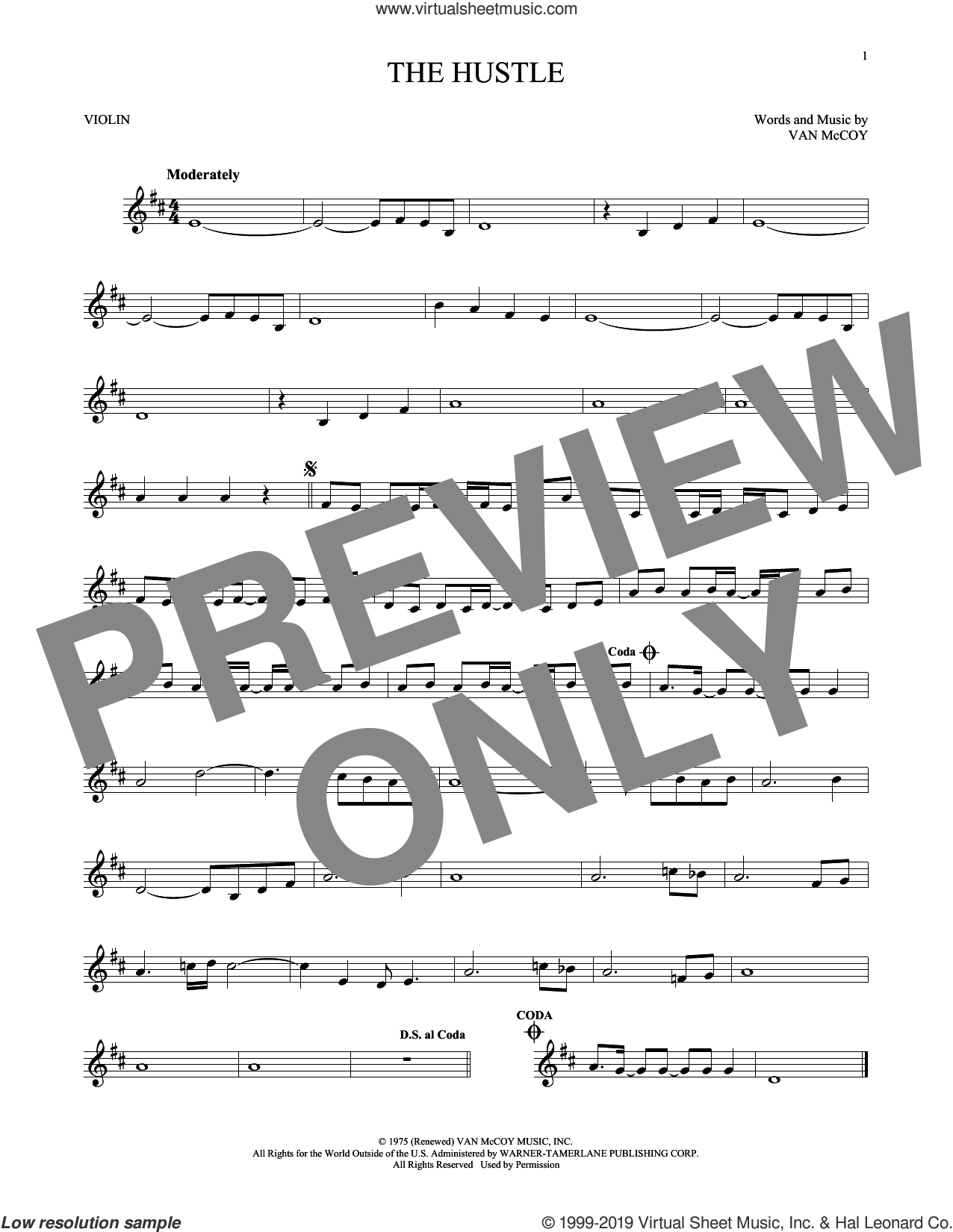 The Hustle sheet music for violin solo by Van McCoy & The Soul City Symphony and Van McCoy, intermediate skill level