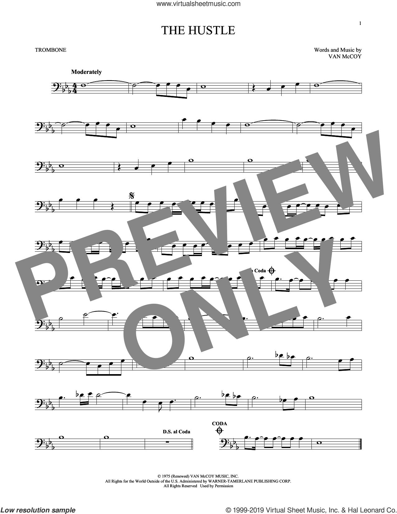 The Hustle sheet music for trombone solo by Van McCoy & The Soul City Symphony and Van McCoy, intermediate skill level
