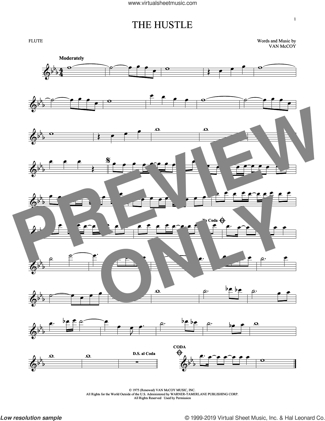 The Hustle sheet music for flute solo by Van McCoy & The Soul City Symphony and Van McCoy, intermediate skill level