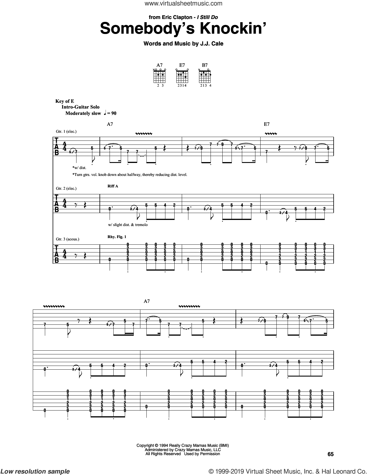 Somebody's Knockin' sheet music for guitar (rhythm tablature) by Eric Clapton and John Cale, intermediate skill level