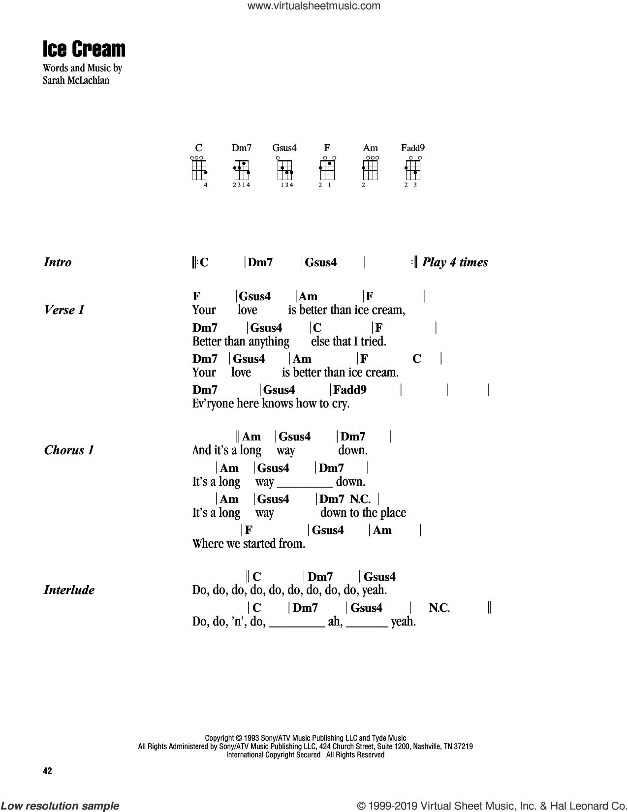 Ice Cream sheet music for ukulele (chords) by Sarah McLachlan, intermediate skill level