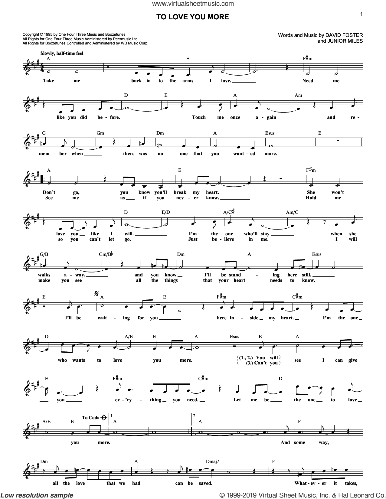 To Love You More sheet music for voice and other instruments (fake book) by Celine Dion, David Foster and Junior Miles, wedding score, intermediate skill level