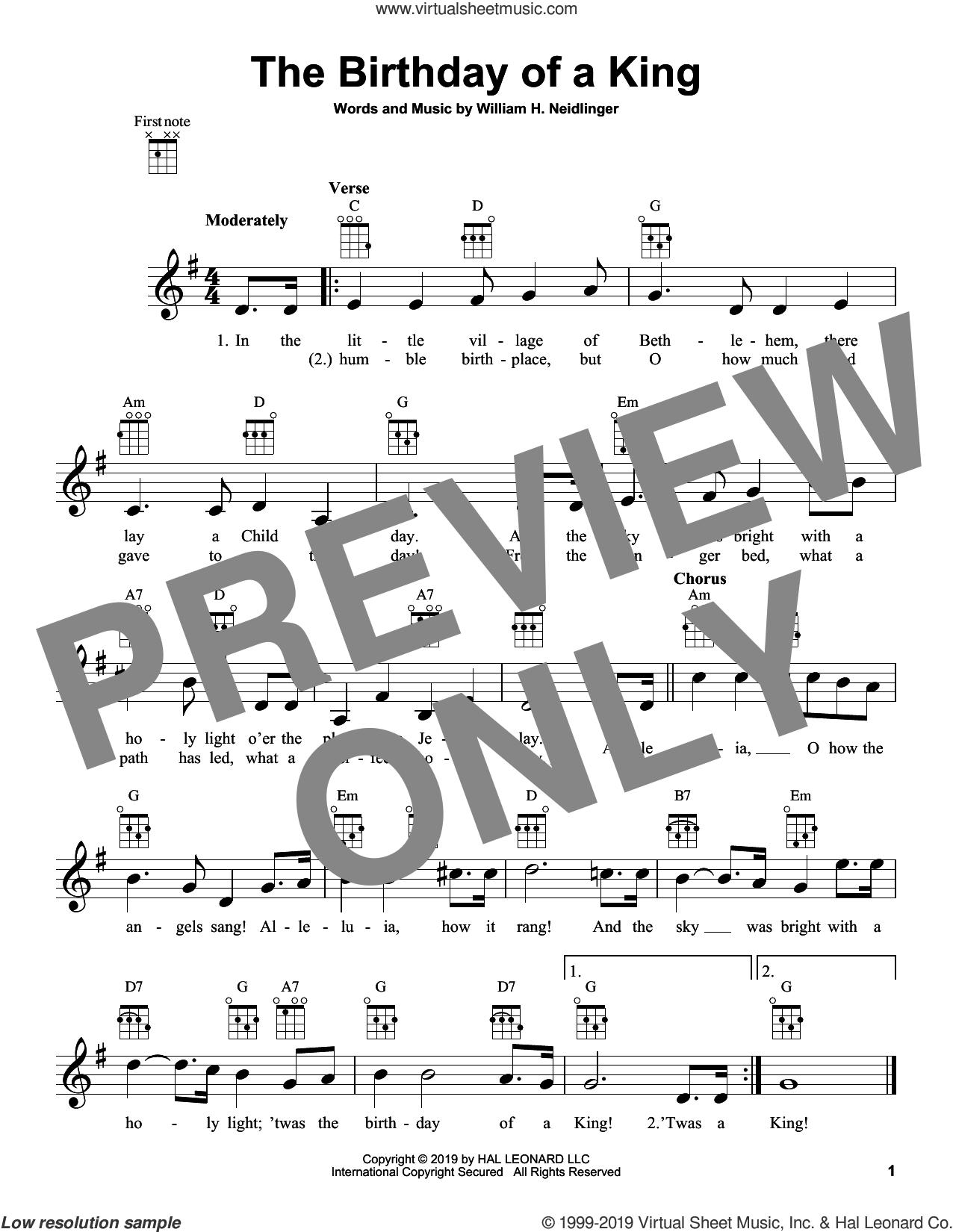 The Birthday Of A King sheet music for ukulele by William Harold Neidlinger, classical score, intermediate skill level