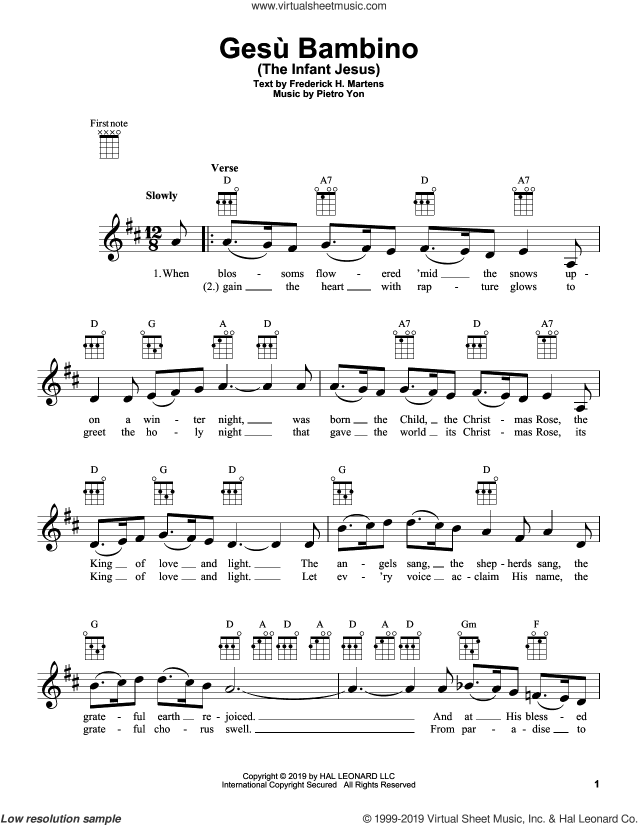 Gesu Bambino (The Infant Jesus) sheet music for ukulele by Pietro Yon and Frederick H. Martens, intermediate skill level