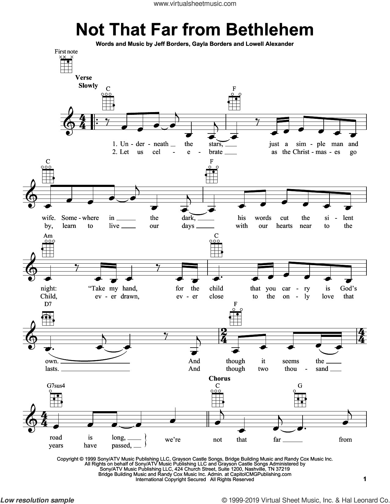Not That Far From Bethlehem sheet music for ukulele by Point Of Grace, Gayla Borders, Jeff Borders and Lowell Alexander, intermediate skill level