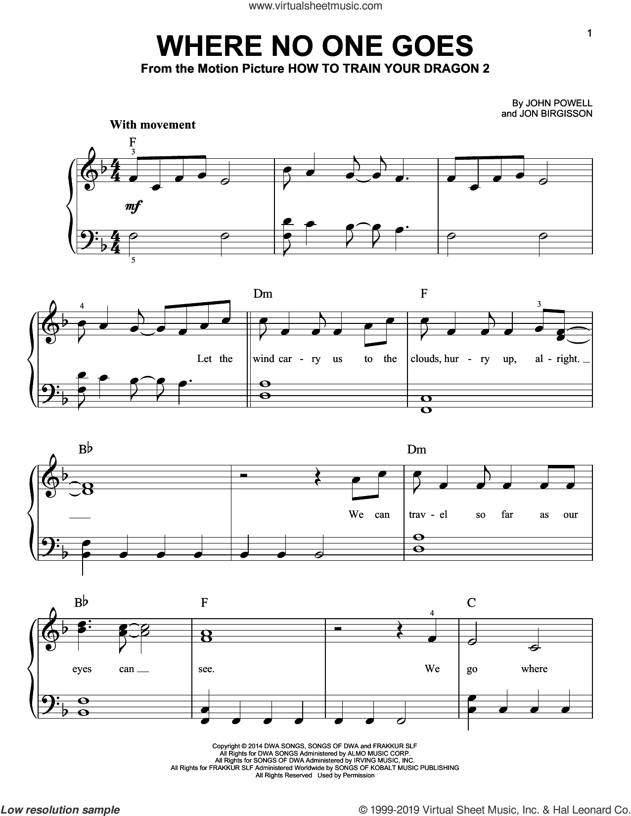 Where No One Goes (from How to Train Your Dragon 2) sheet music for piano solo by John Powell and Jon Birgisson, easy skill level