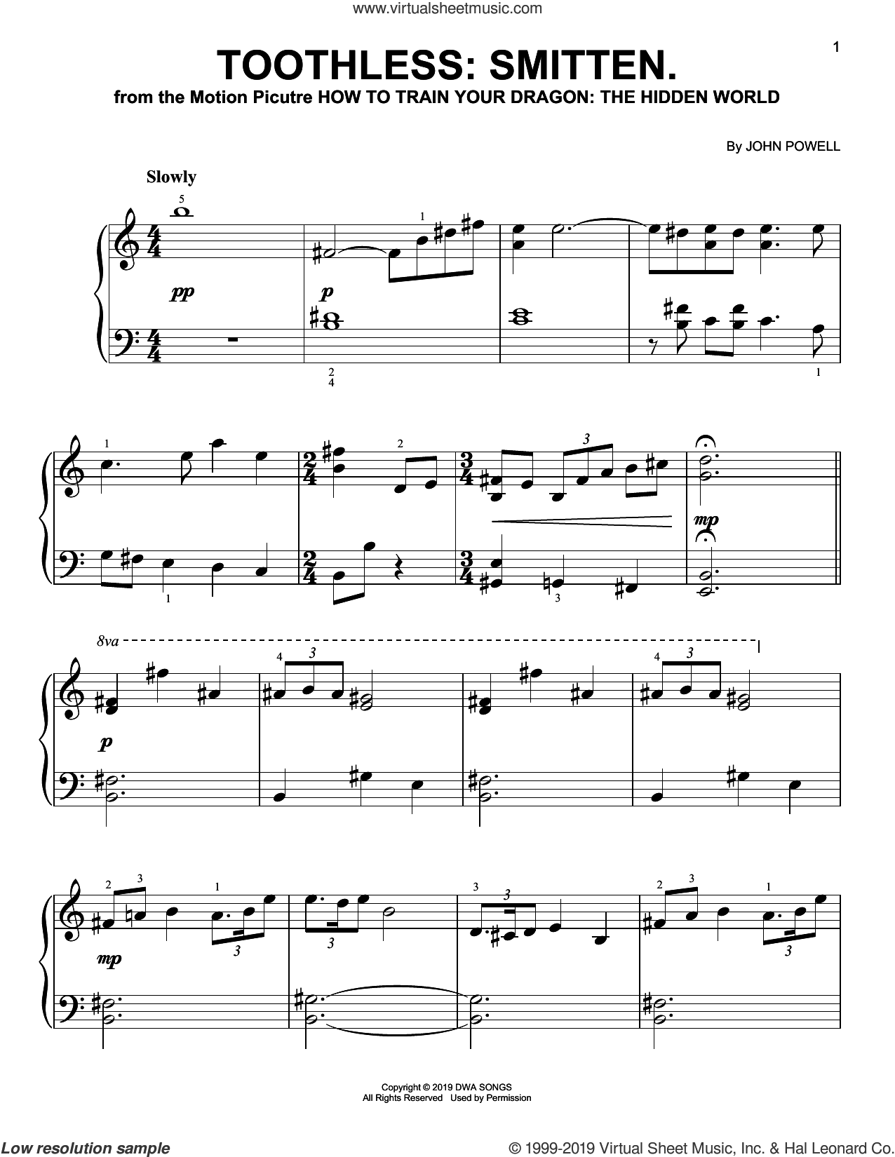 Toothless: Smitten. (from How to Train Your Dragon: The Hidden World) sheet music for piano solo by John Powell, easy skill level
