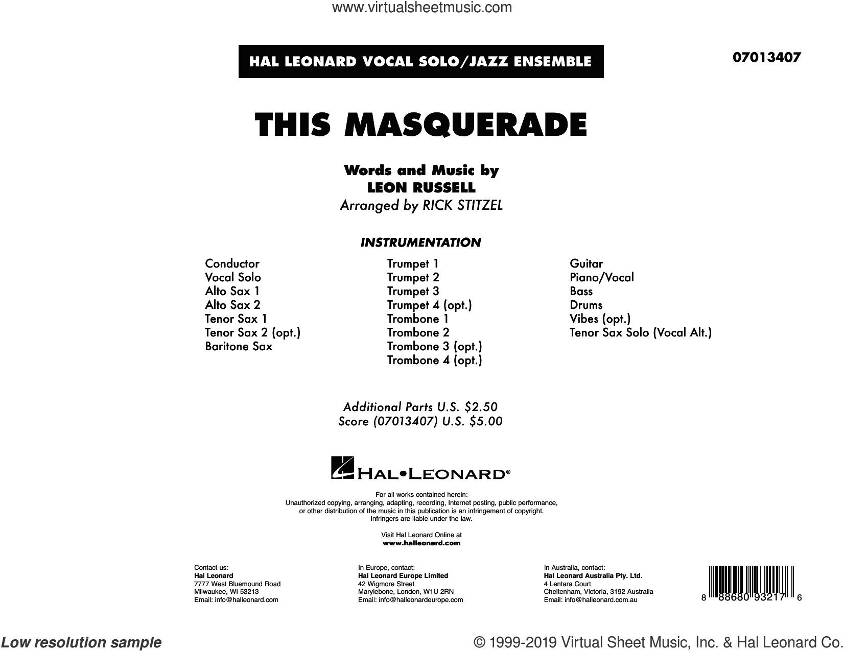 This Masquerade (arr. Rick Stitzel) (COMPLETE) sheet music for jazz band by Rick Stitzel and Leon Russell, intermediate skill level