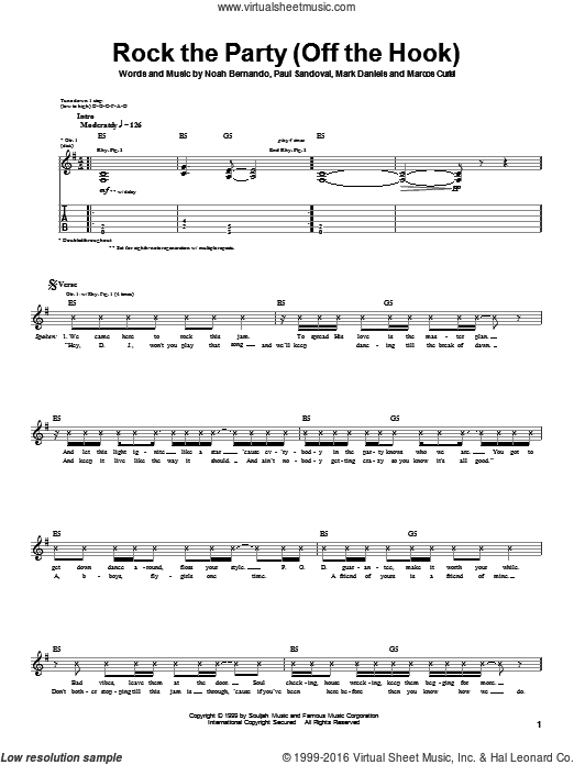Rock The Party (Off The Hook) sheet music for guitar (tablature) by Traa