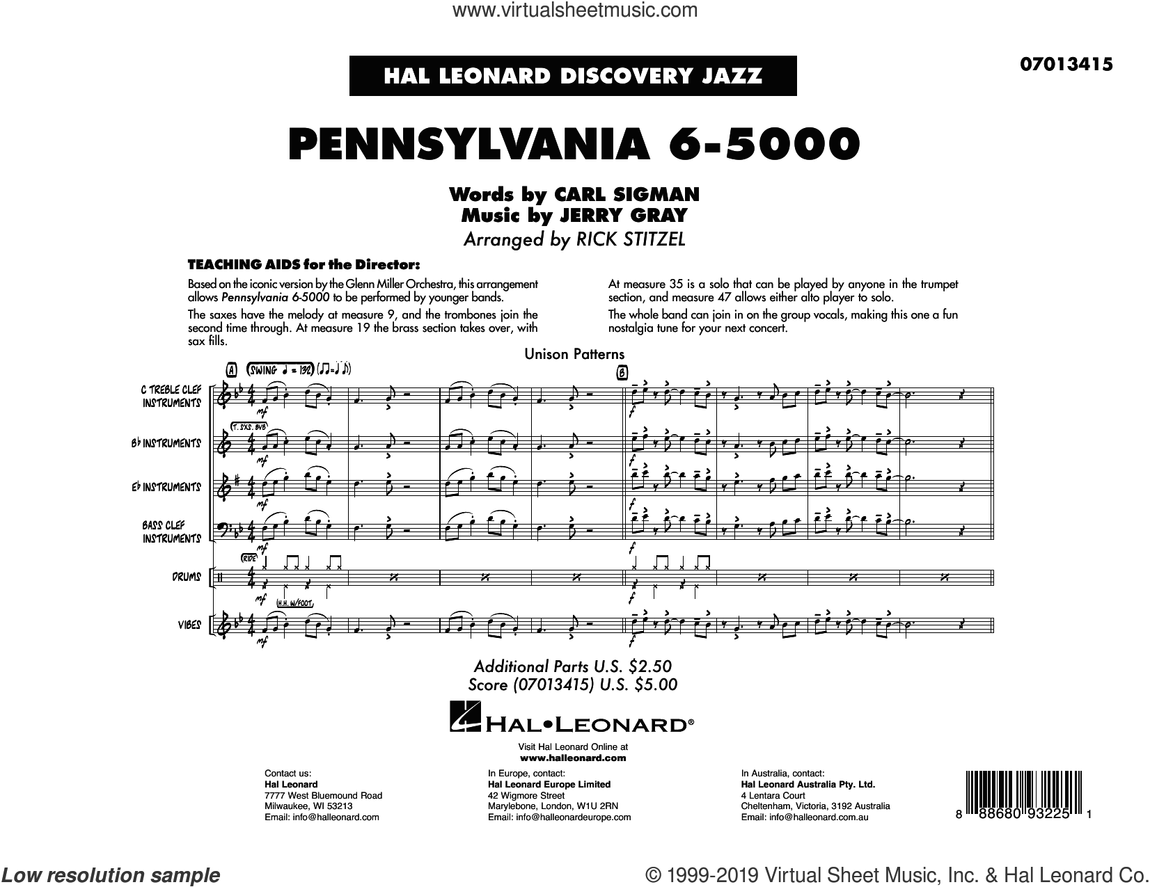 Pennsylvania 6-5000 (arr. Rick Stitzel) (COMPLETE) sheet music for jazz band by Glenn Miller Orchestra, Carl Sigman, Jerry Gray and Rick Stitzel, intermediate skill level