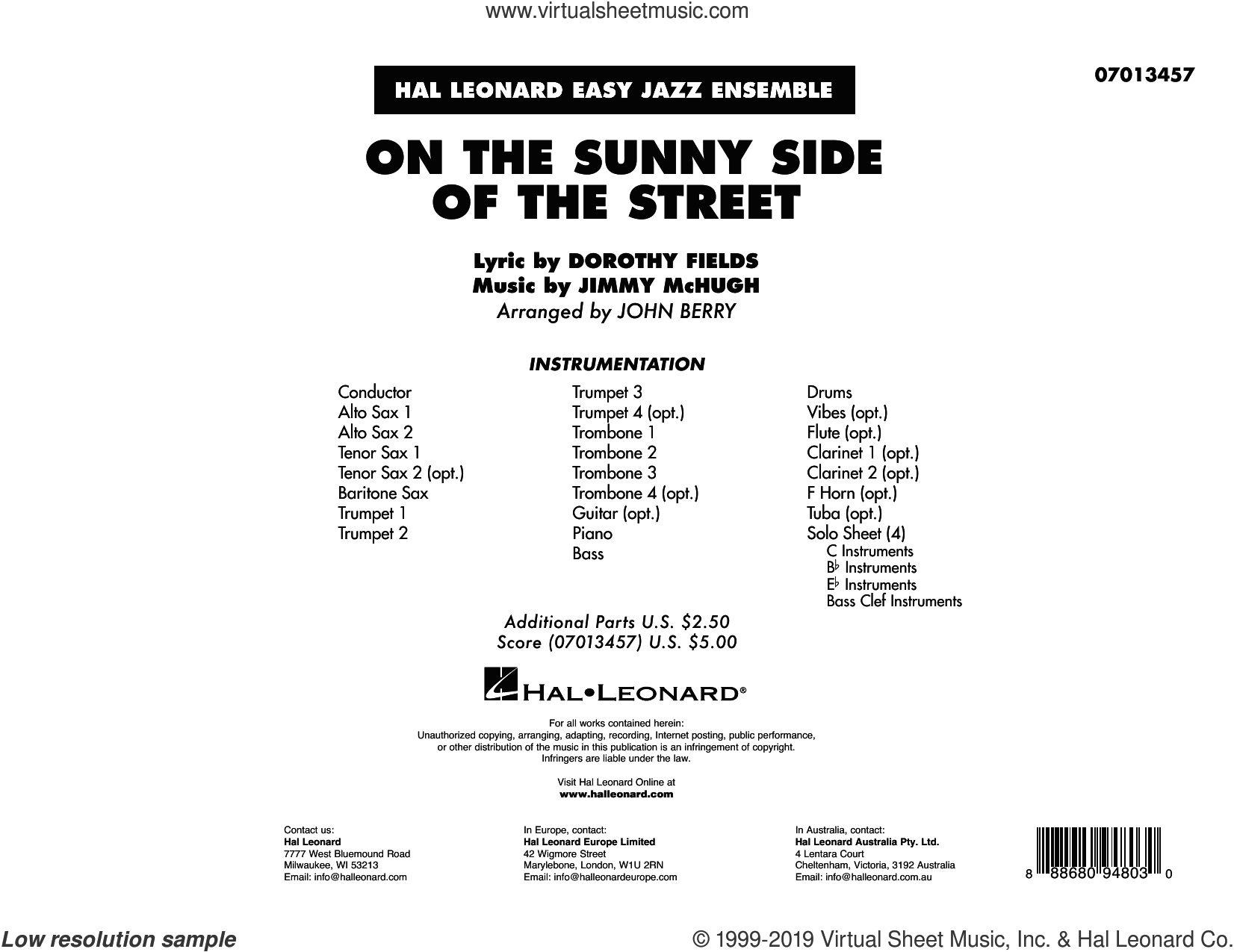 On the Sunny Side of the Street (arr. John Berry) (COMPLETE) sheet music for jazz band by Dorothy Fields, Jimmy McHugh and John Berry, intermediate skill level